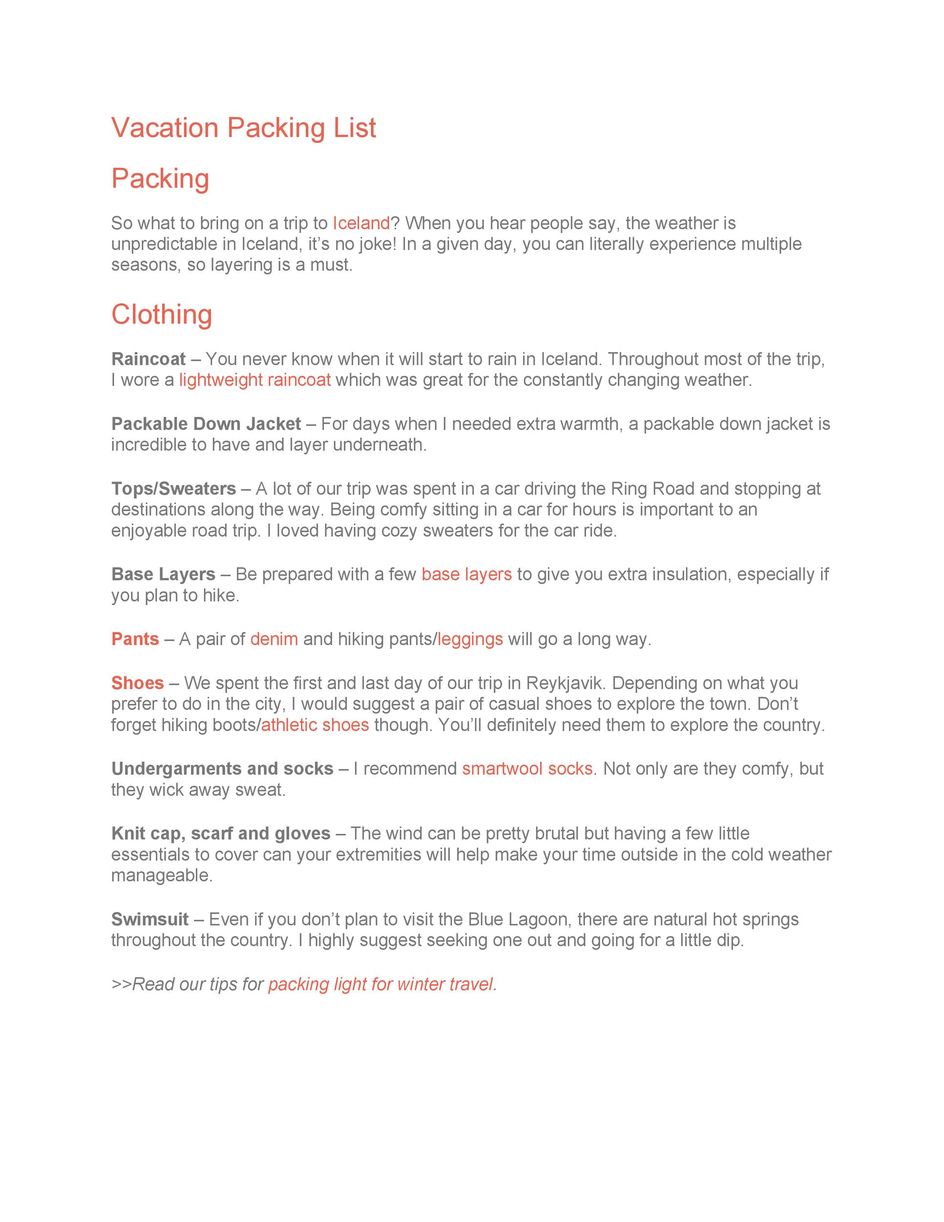 Free Packing List Template 10