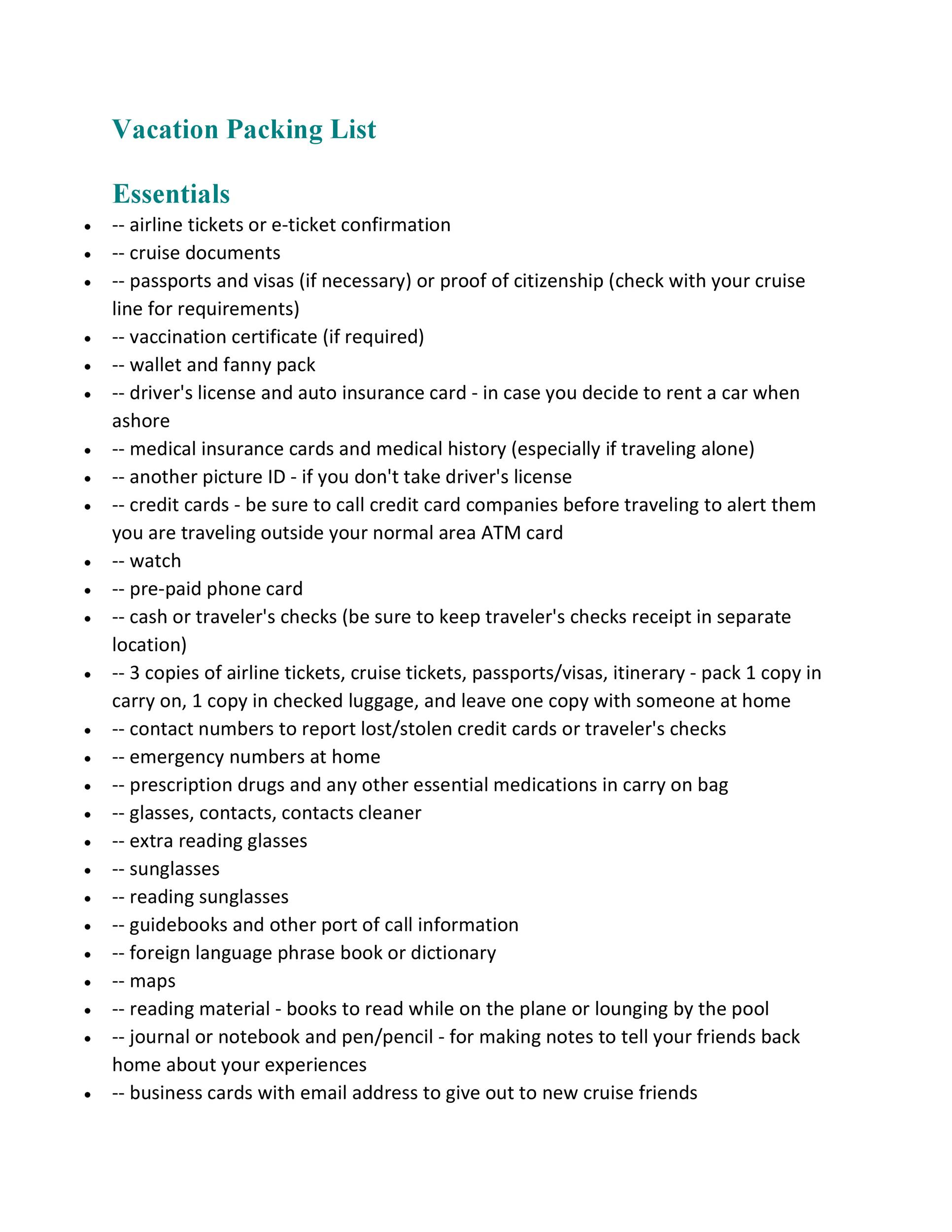 Free Packing List Template 11