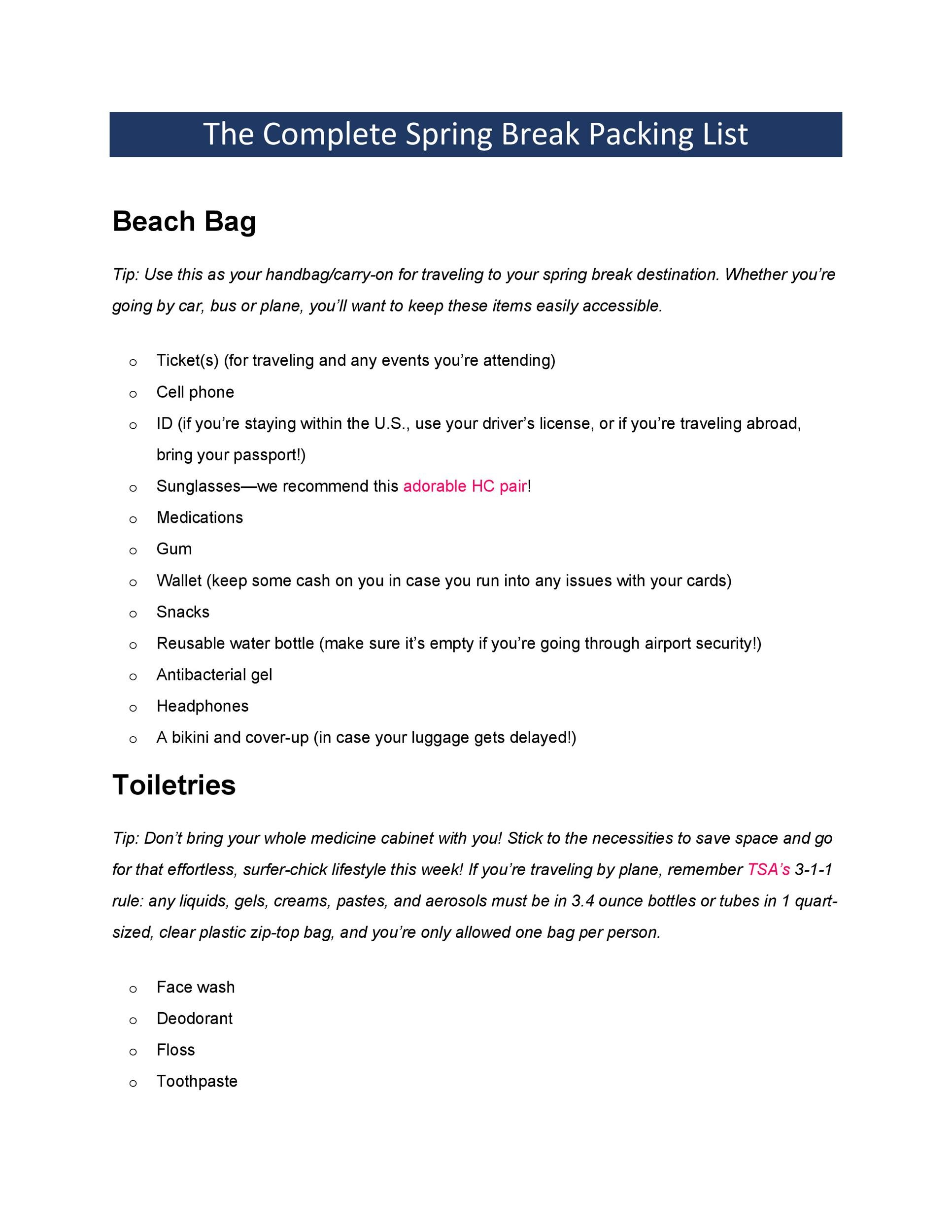 Free Packing List Template 15