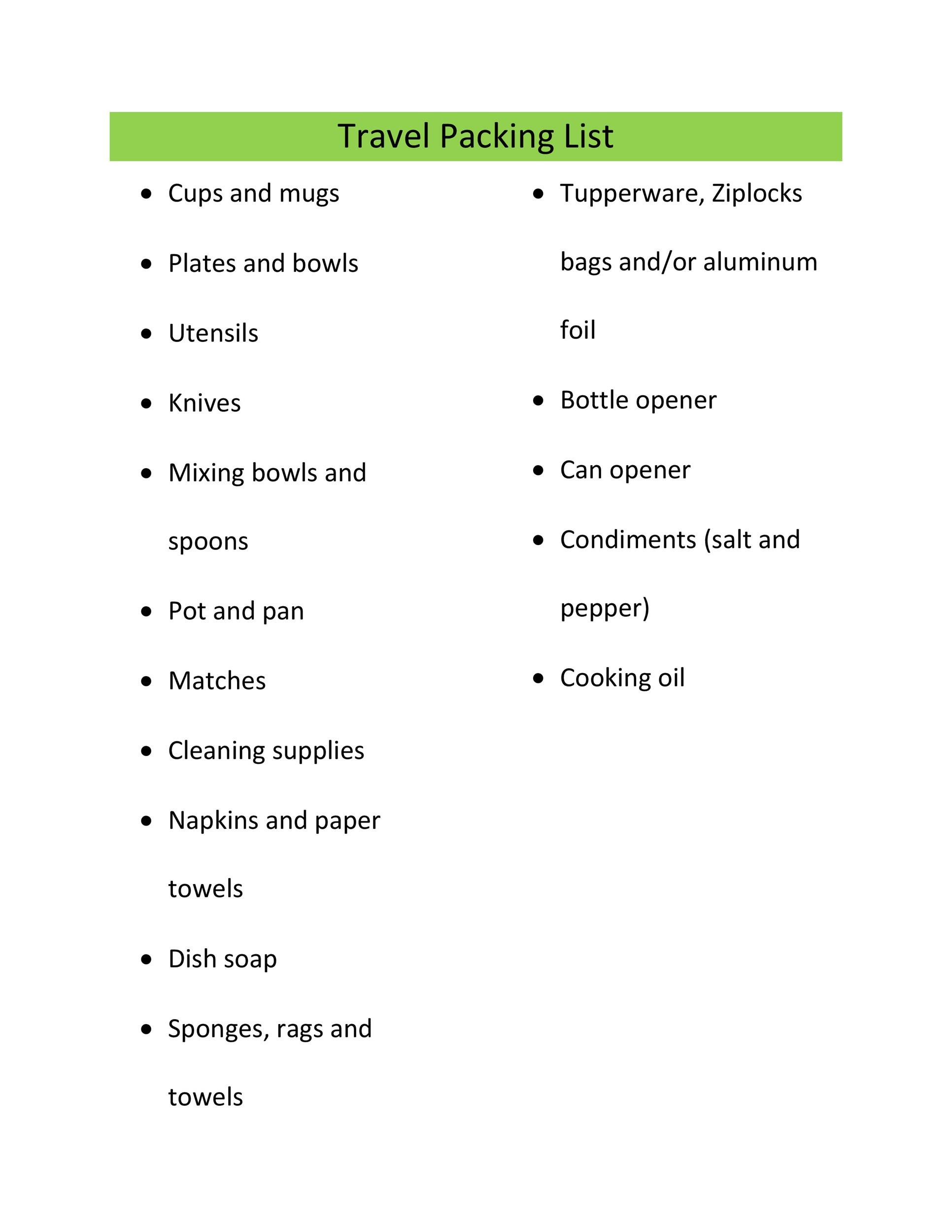 Free Packing List Template 16