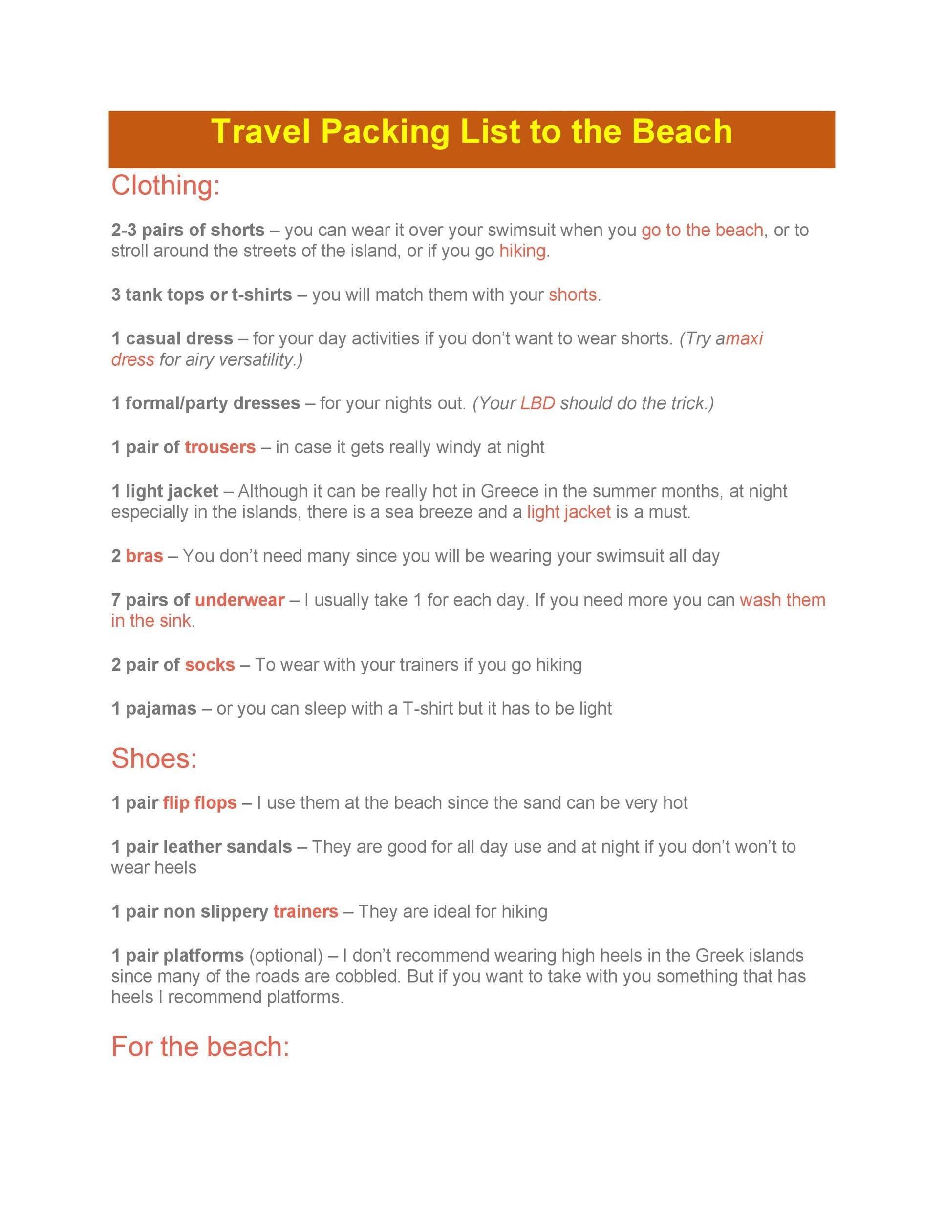 Free Packing List Template 20