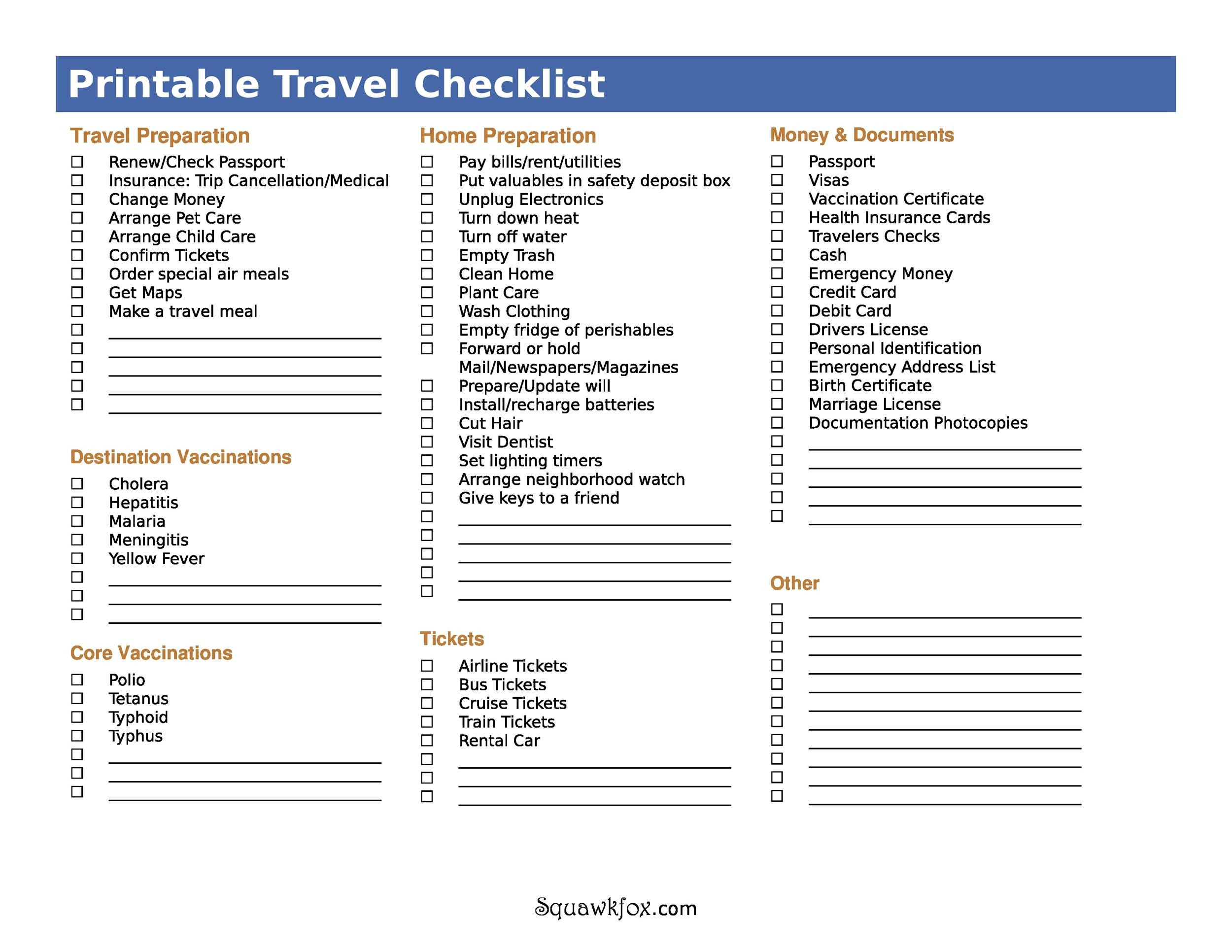 Free Packing List Template 25