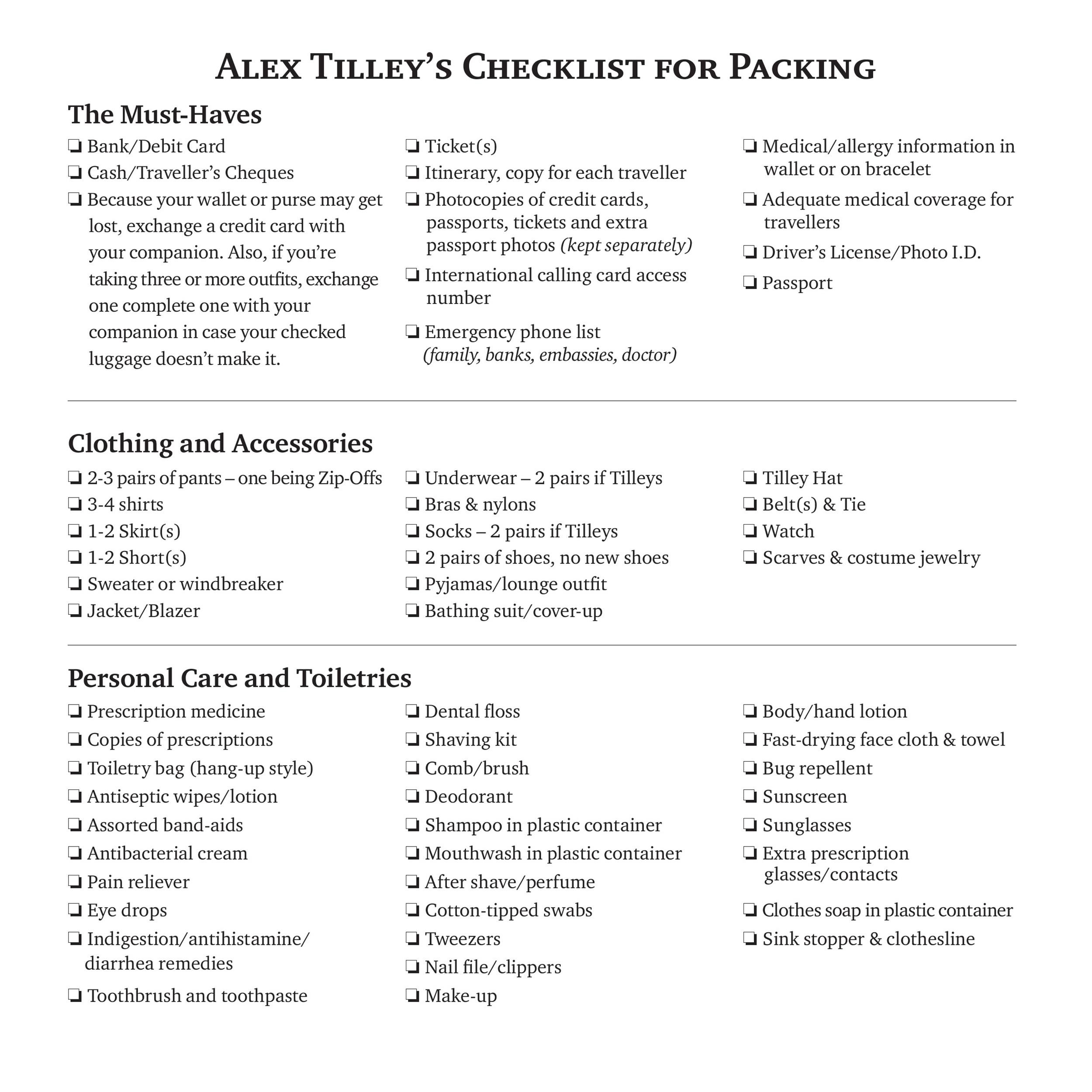 Free Packing List Template 26