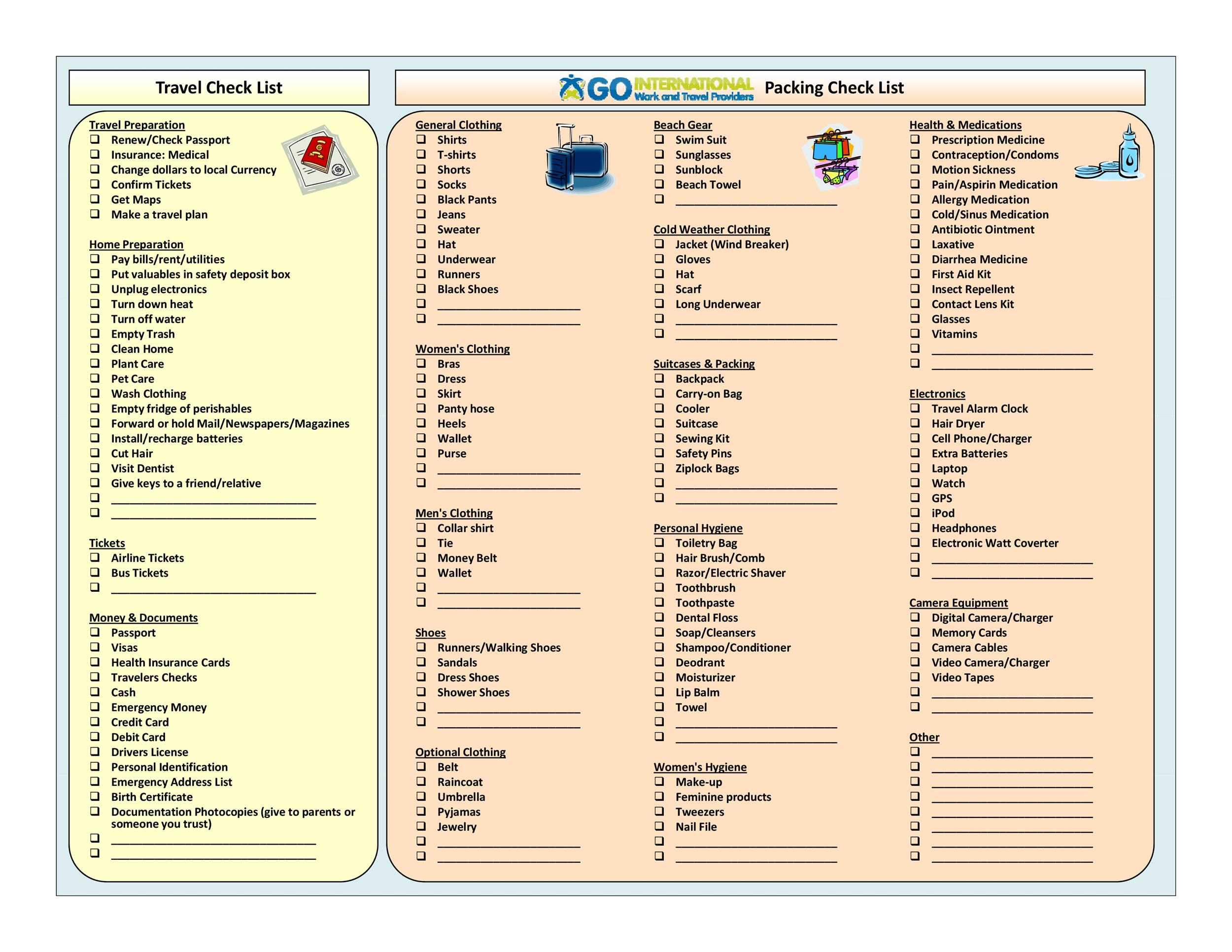 40+ Awesome Printable Packing Lists! (College, Cruise, Camping Etc)