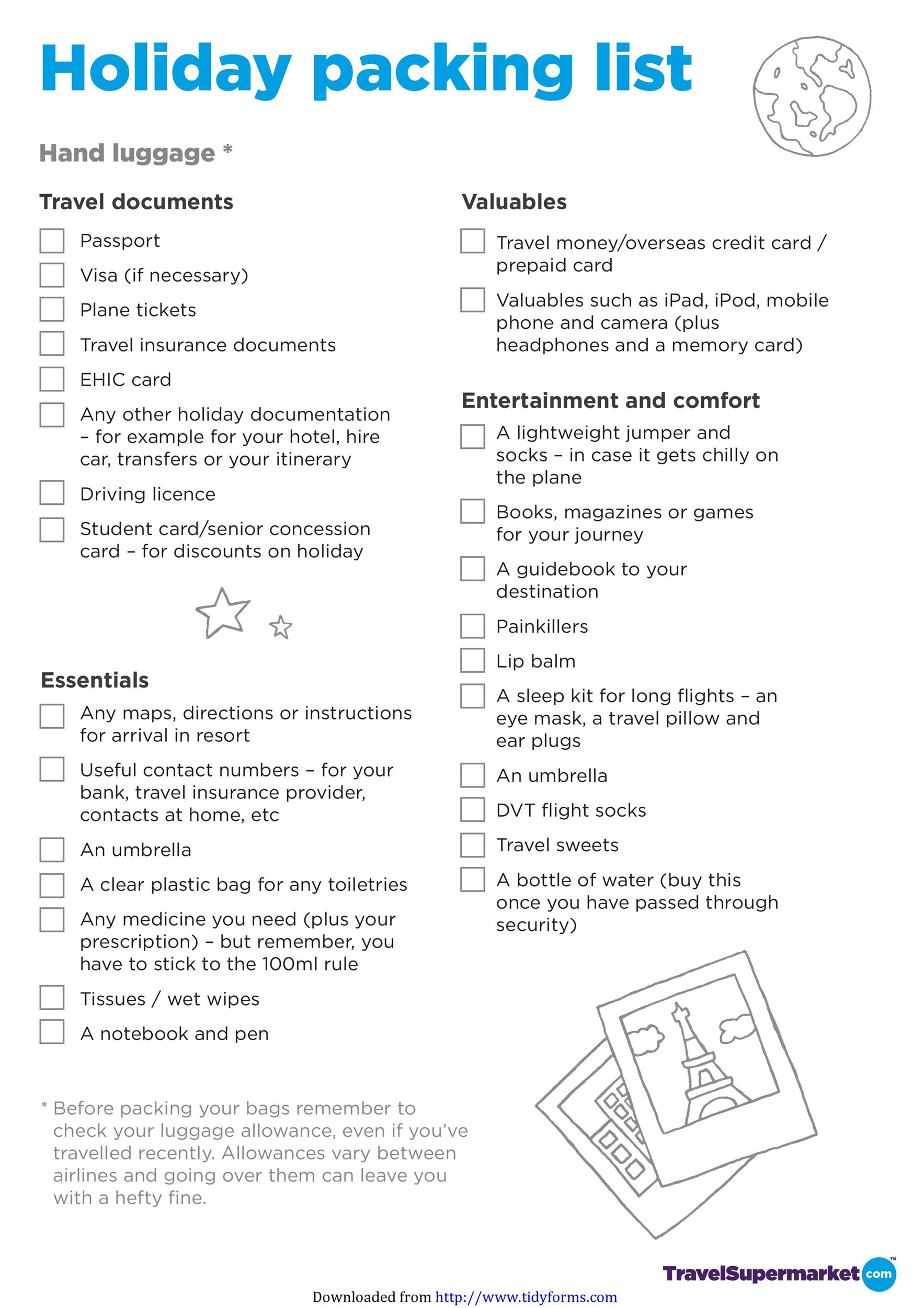 Free Packing List Template 31