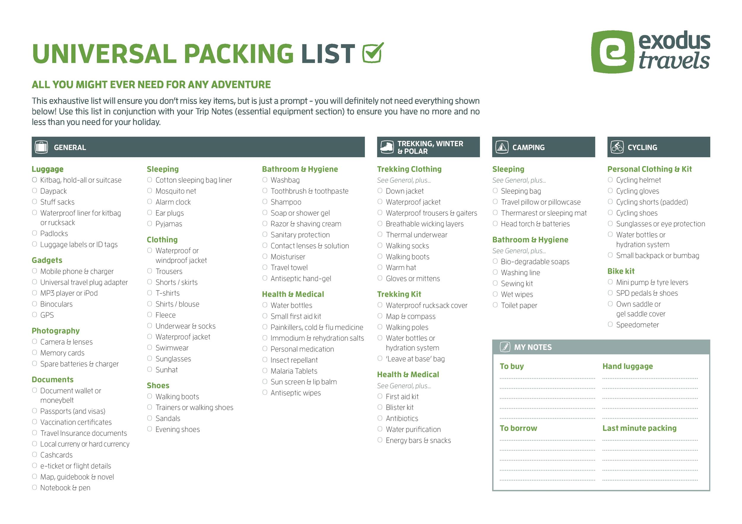 Free Packing List Template 41