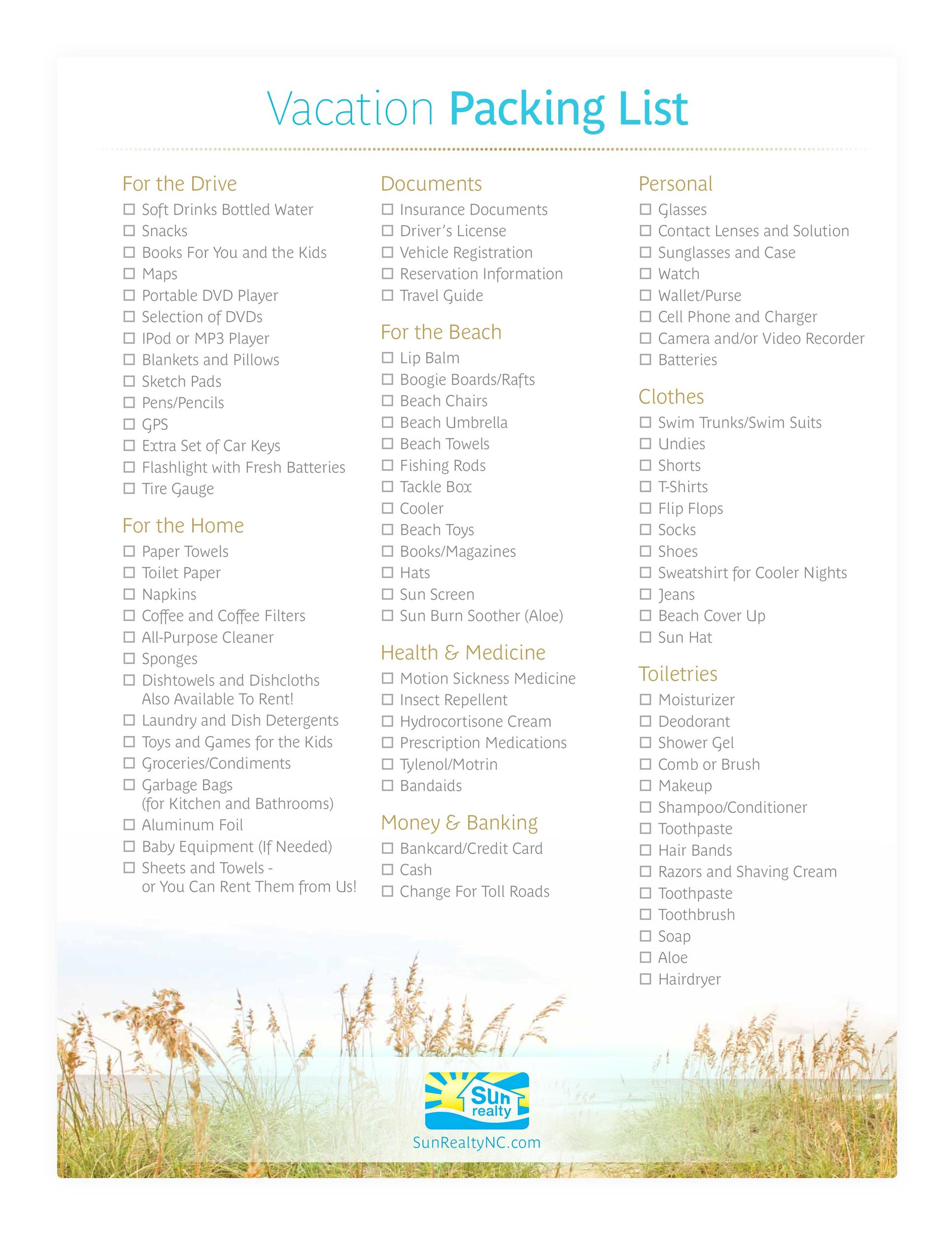 Awesome Printable Packing Lists College Cruise Camping Etc