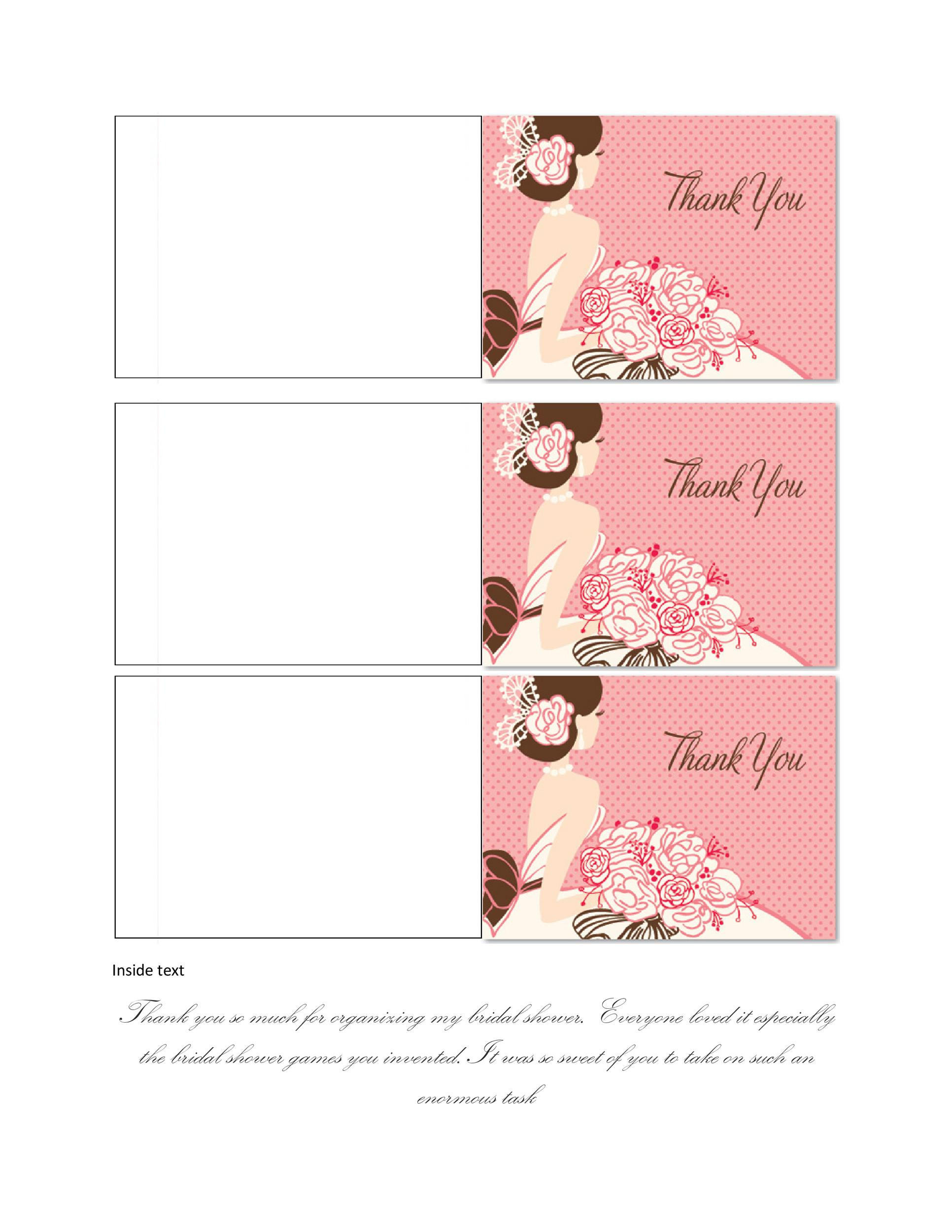 photograph regarding Printable Bridal Shower Cards known as 30+ No cost Printable Thank Yourself Card Templates (Wedding day