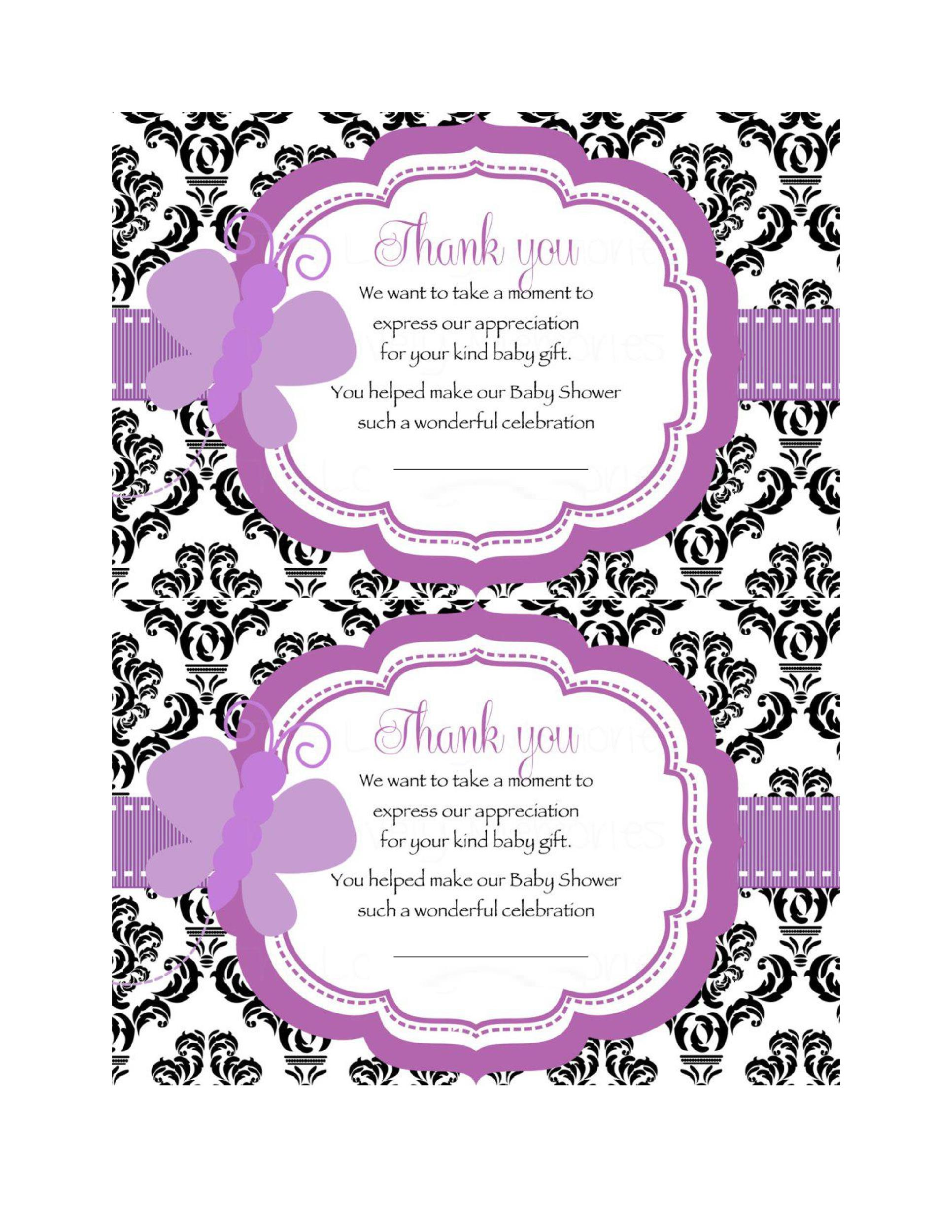 photograph regarding Printable Baby Shower Thank You Cards known as 30+ Absolutely free Printable Thank Yourself Card Templates (Marriage ceremony