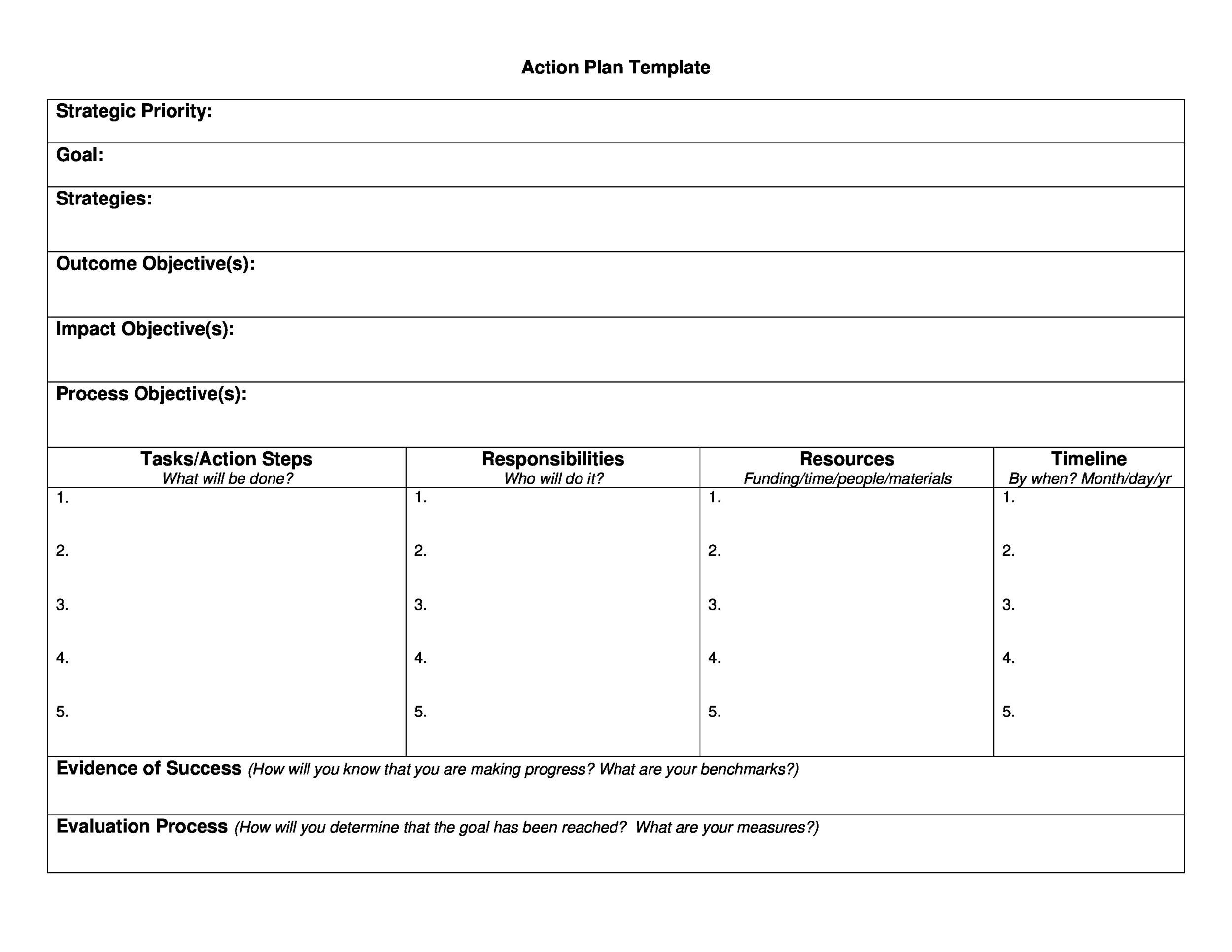 Free Action plan template 06
