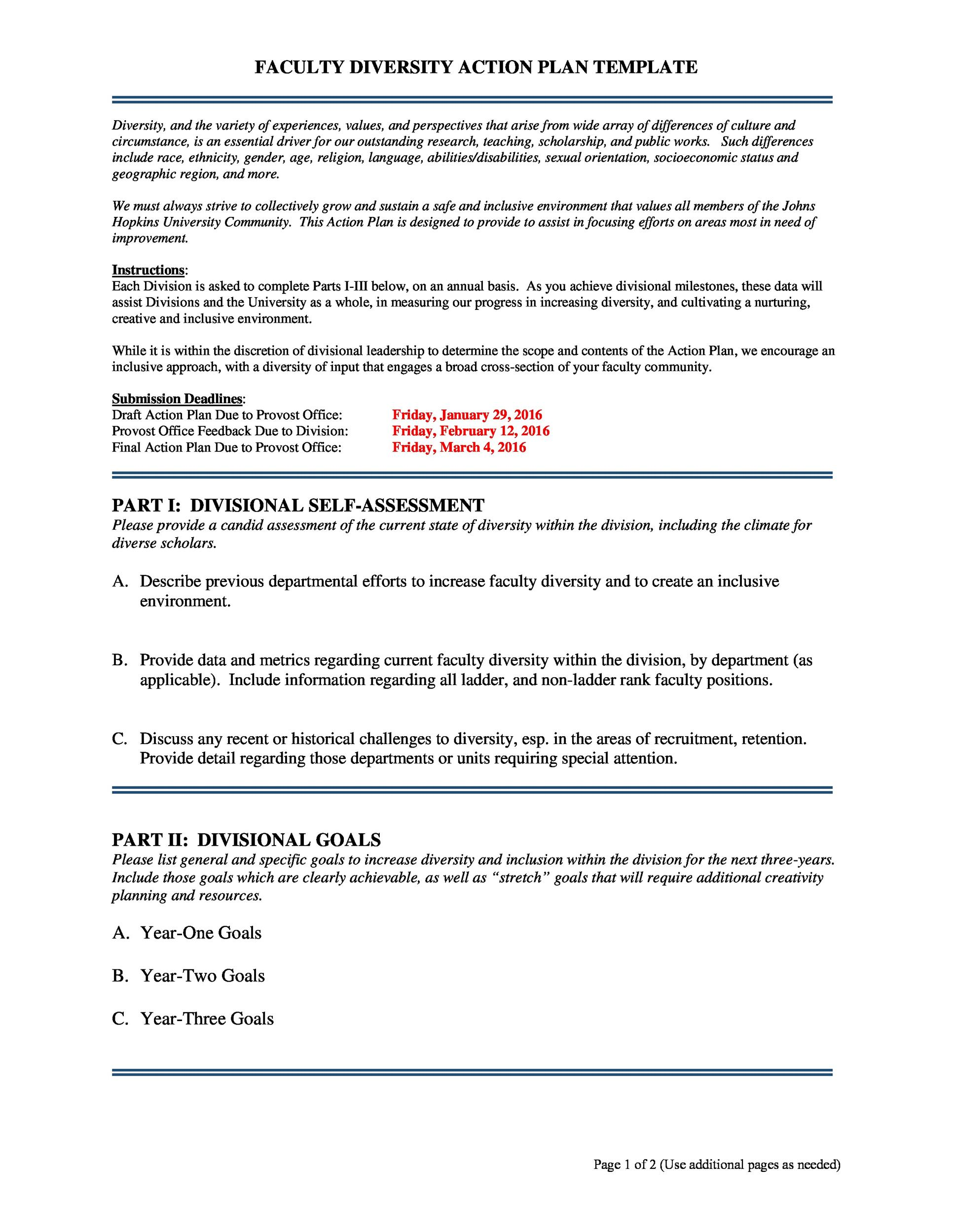 45 free action plan templates corrective emergency for Diversity action plan template