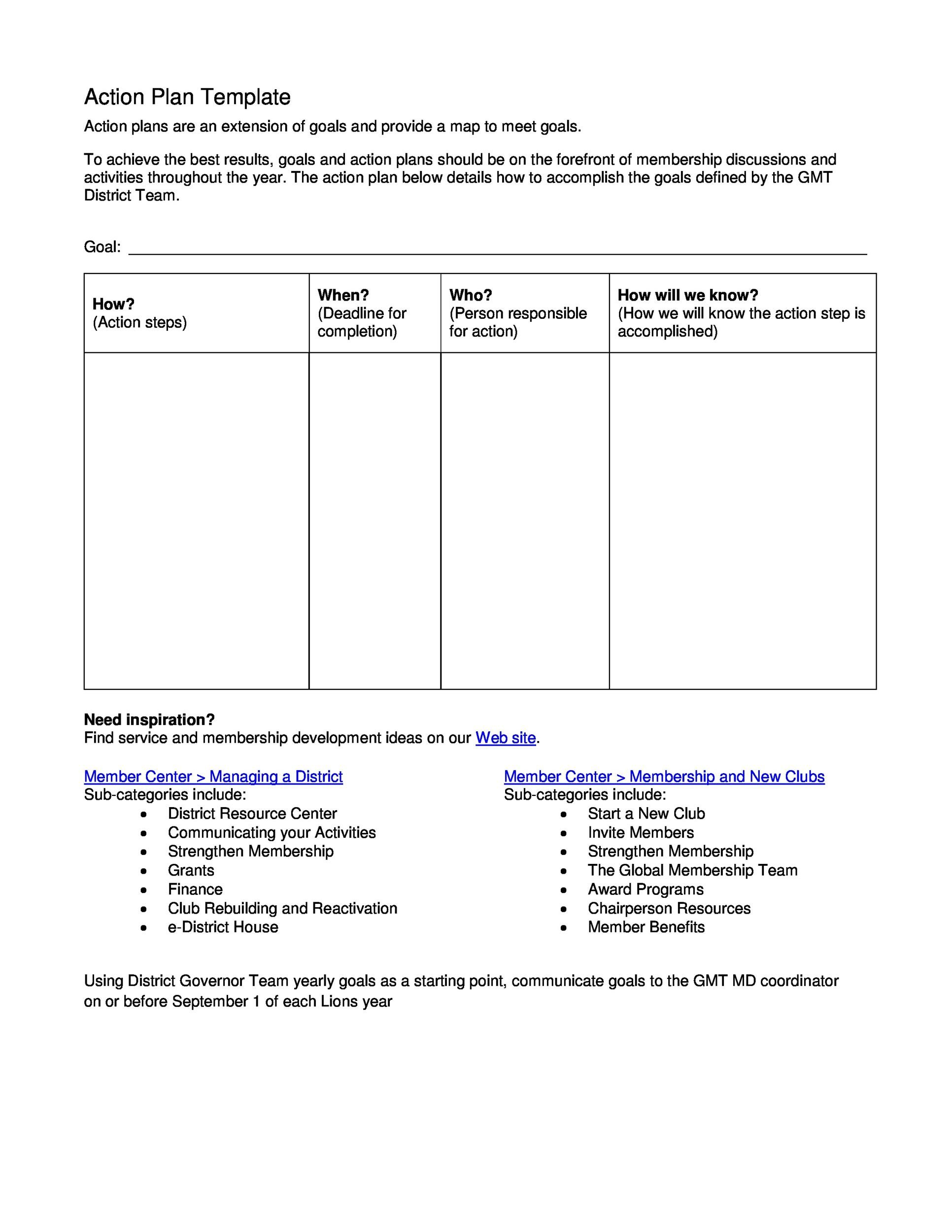 Printable Action Plan Template 18  Action Plan Template Free