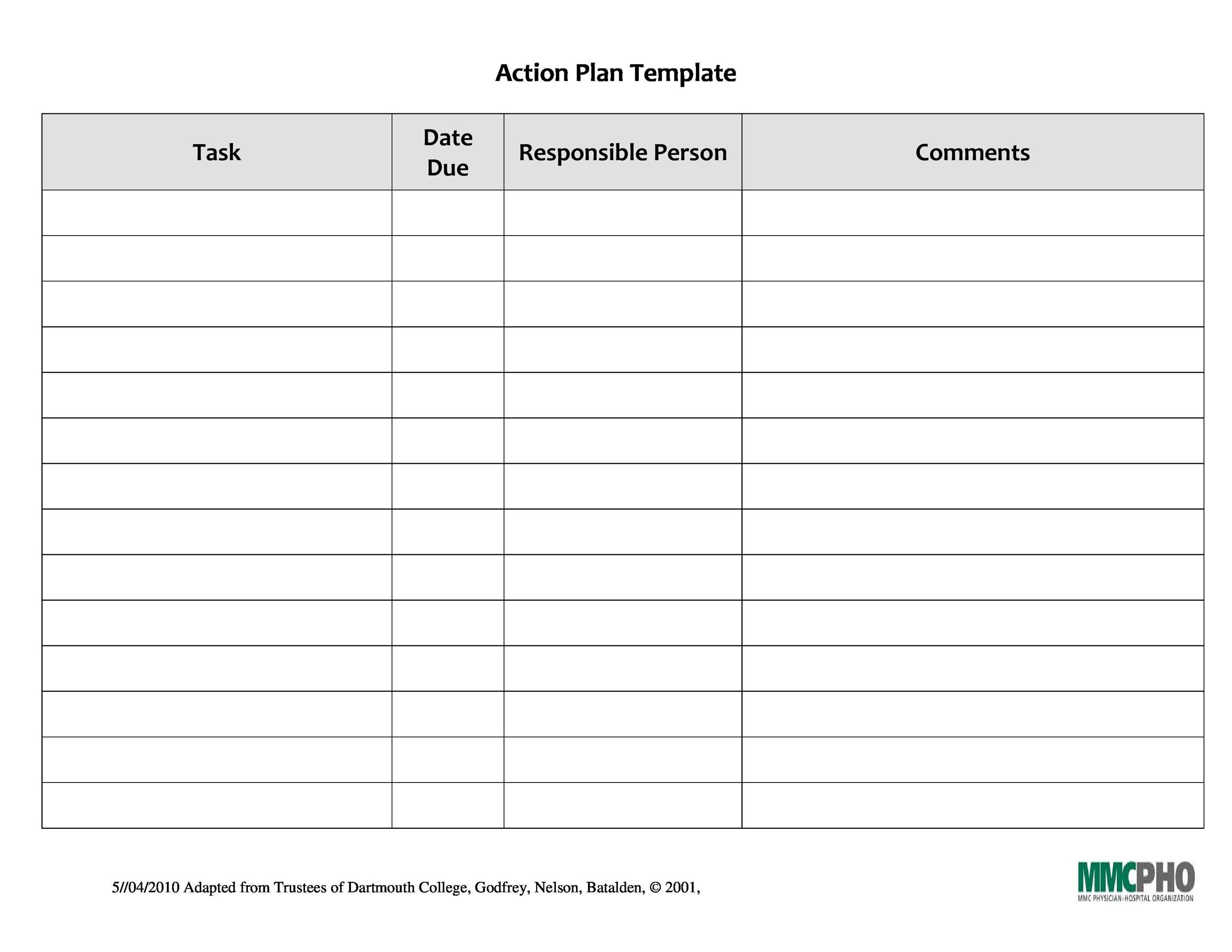 Printable Action Plan Template 19  Action Plan Template Free