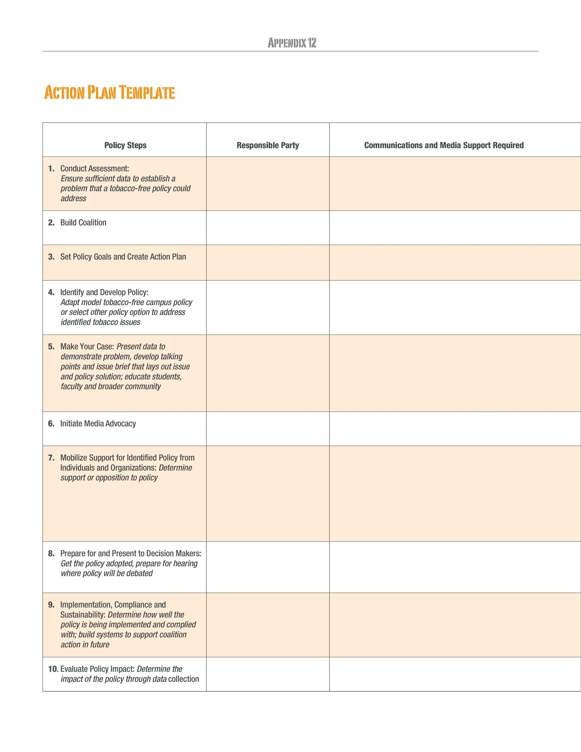 Free Action plan template 23