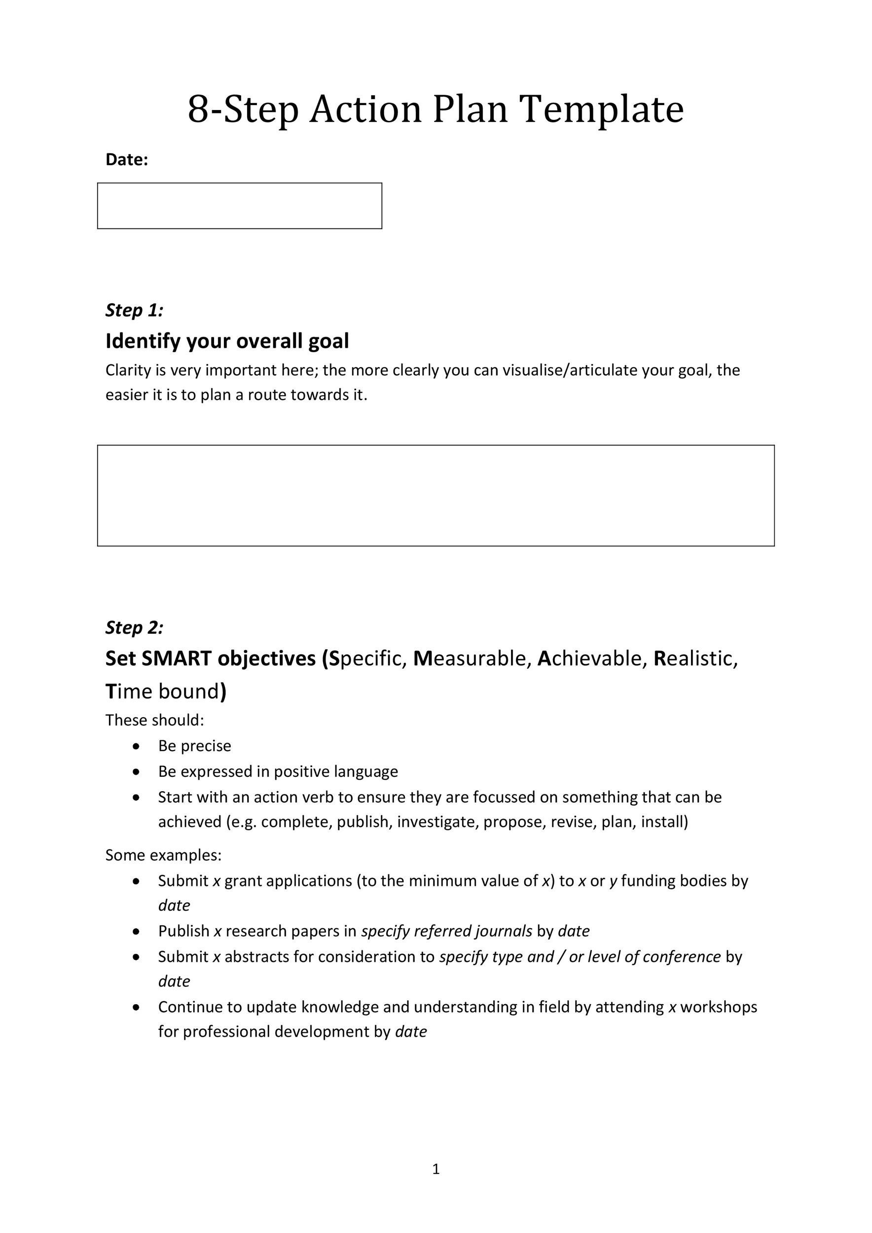 Printable Action Plan Template 26  Free Action Plan Templates