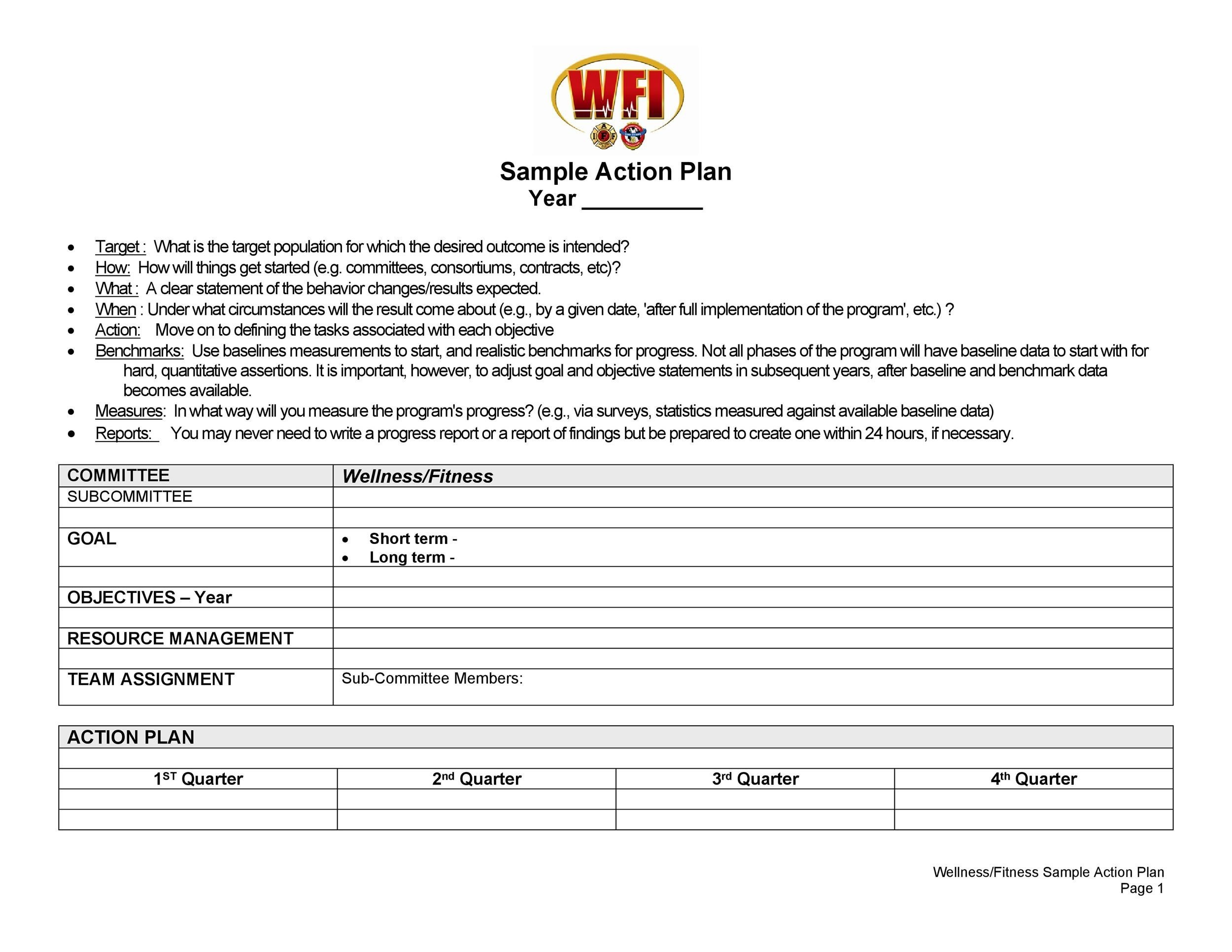 Free Action Plan Template 28