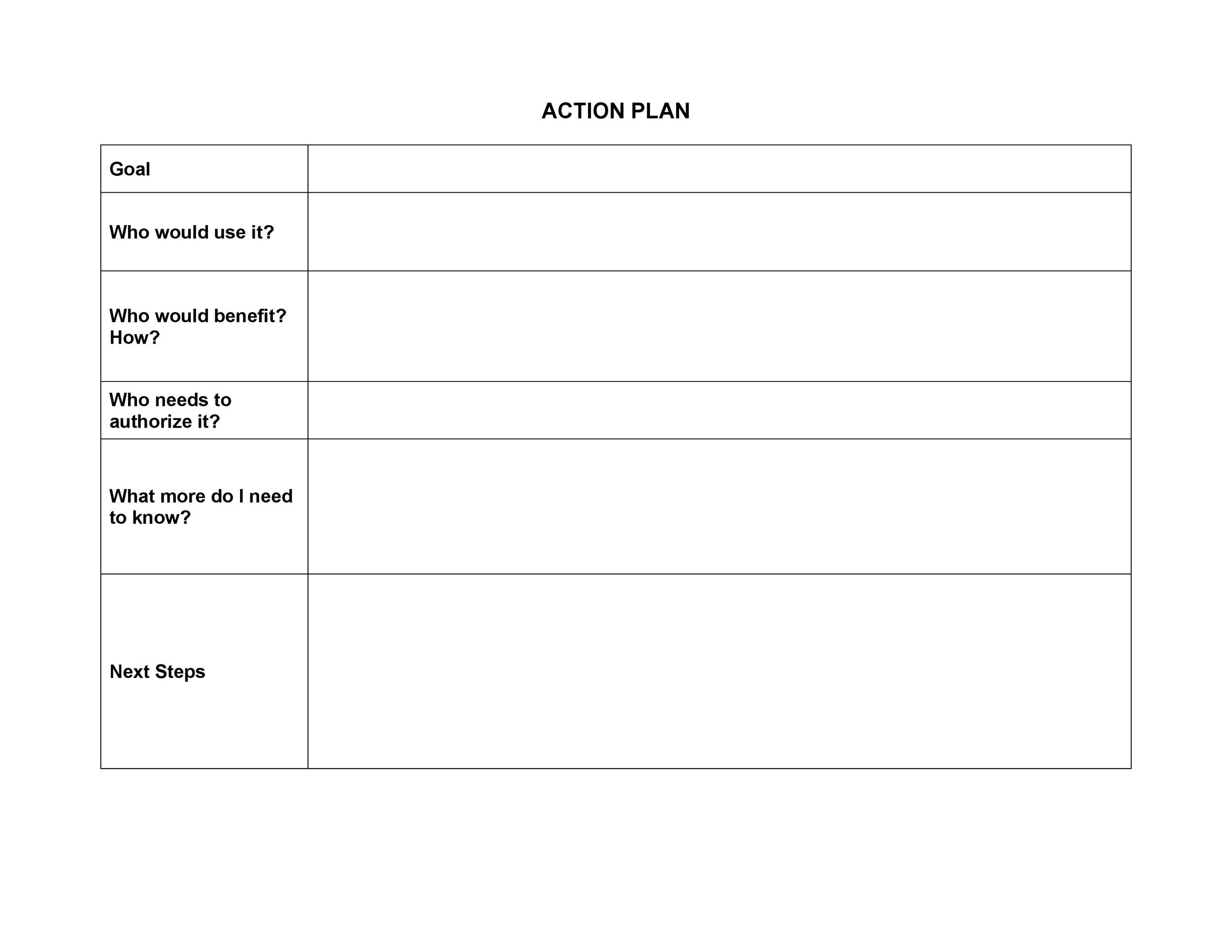 Free Action plan template 34