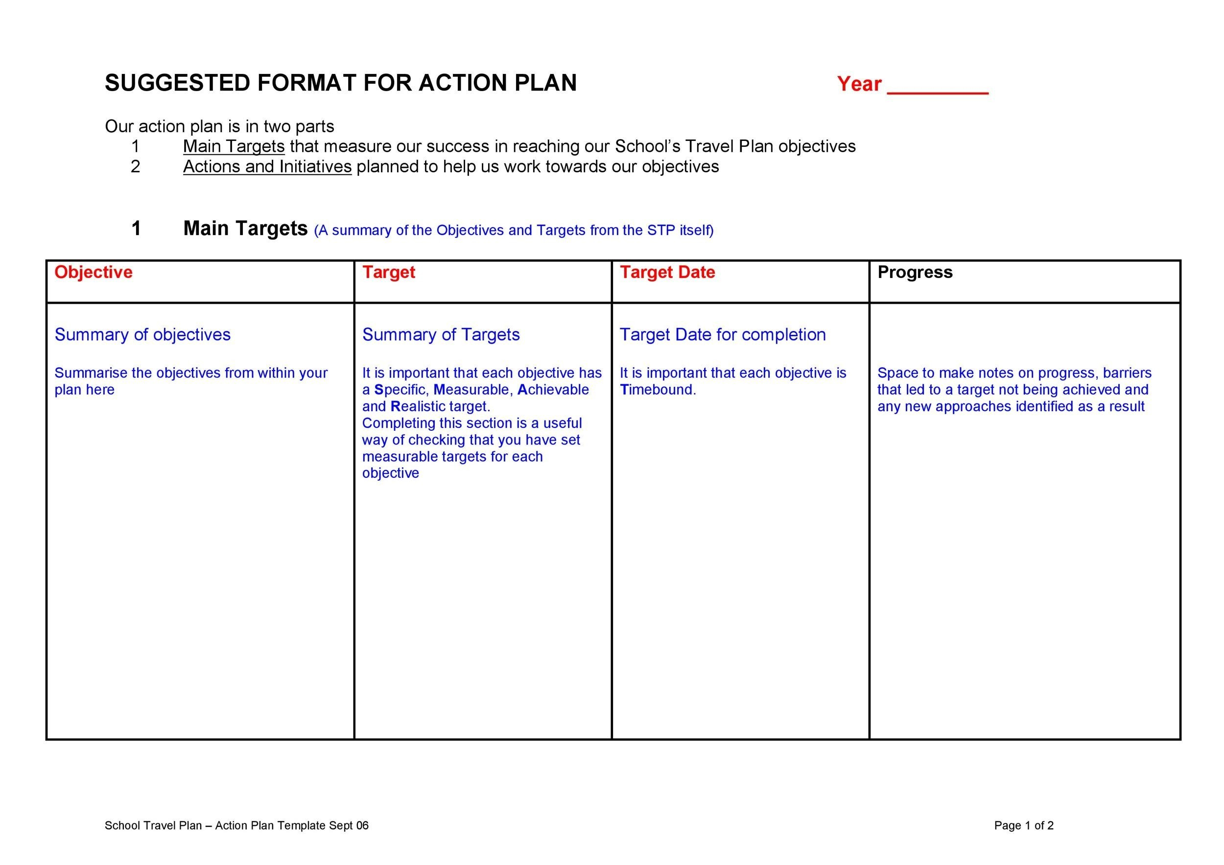 Free Action plan template 40