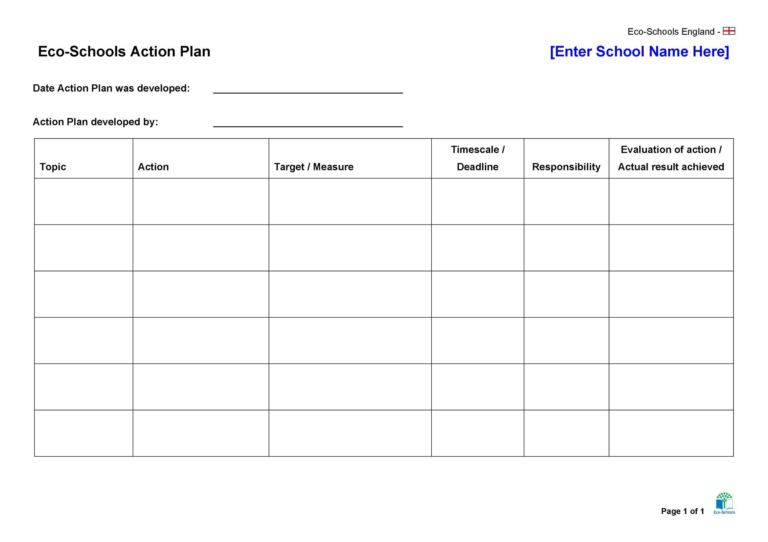 Free Action Plan Templates Corrective Emergency Business
