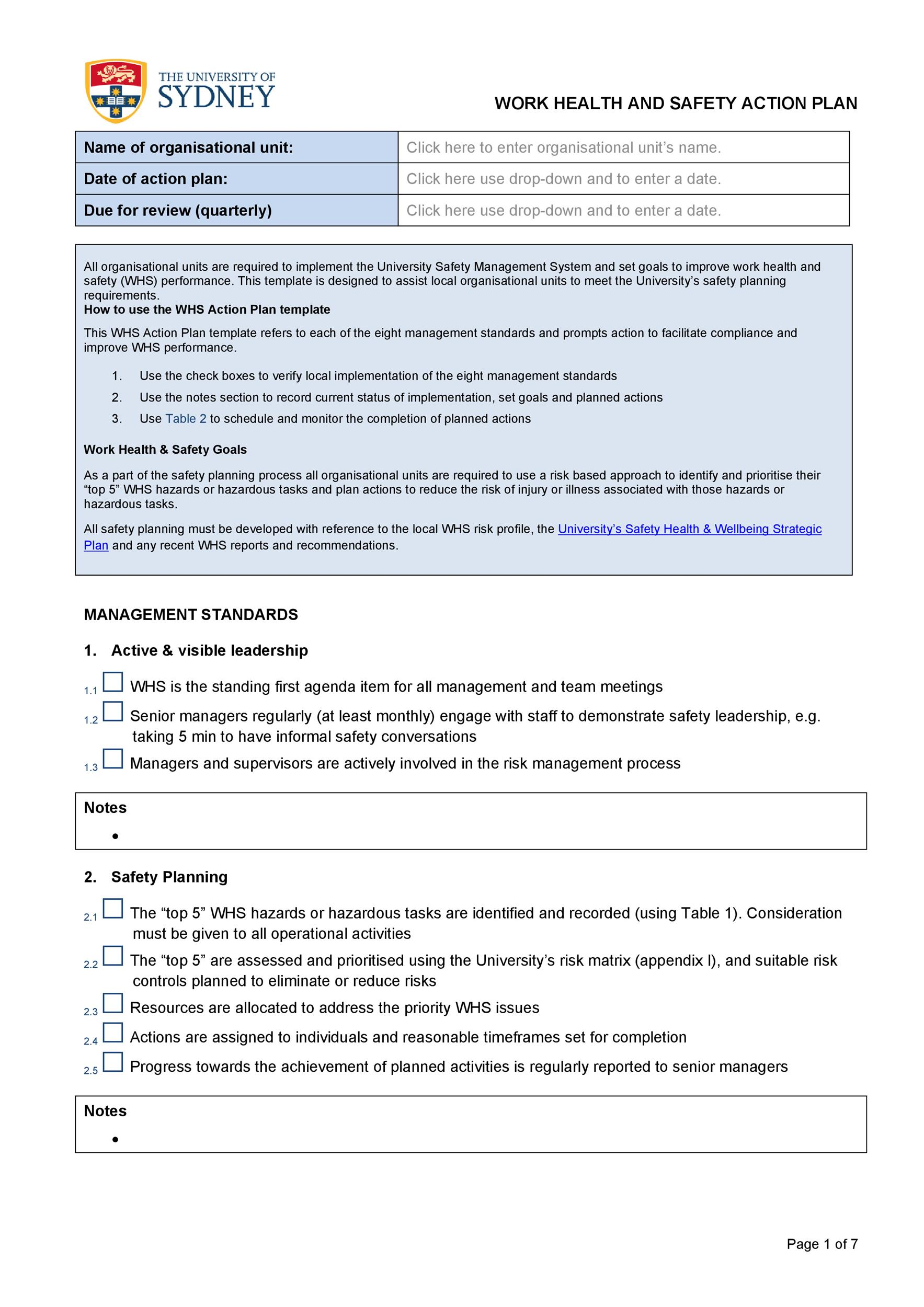 Free Action plan template 42