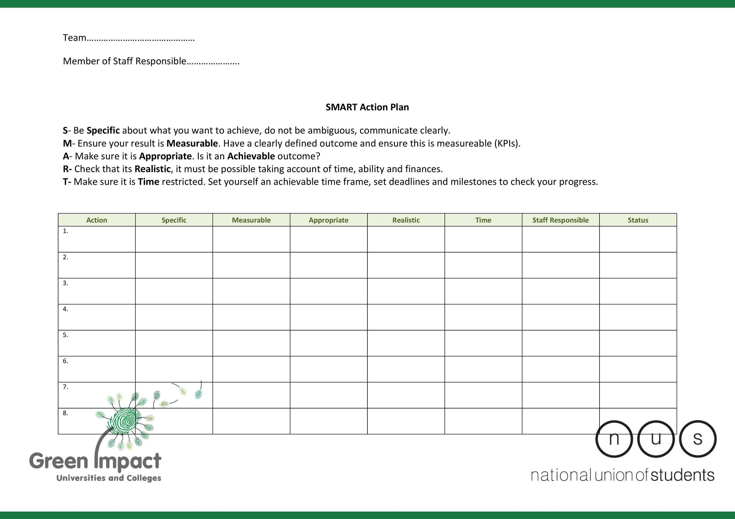Free Action plan template 43