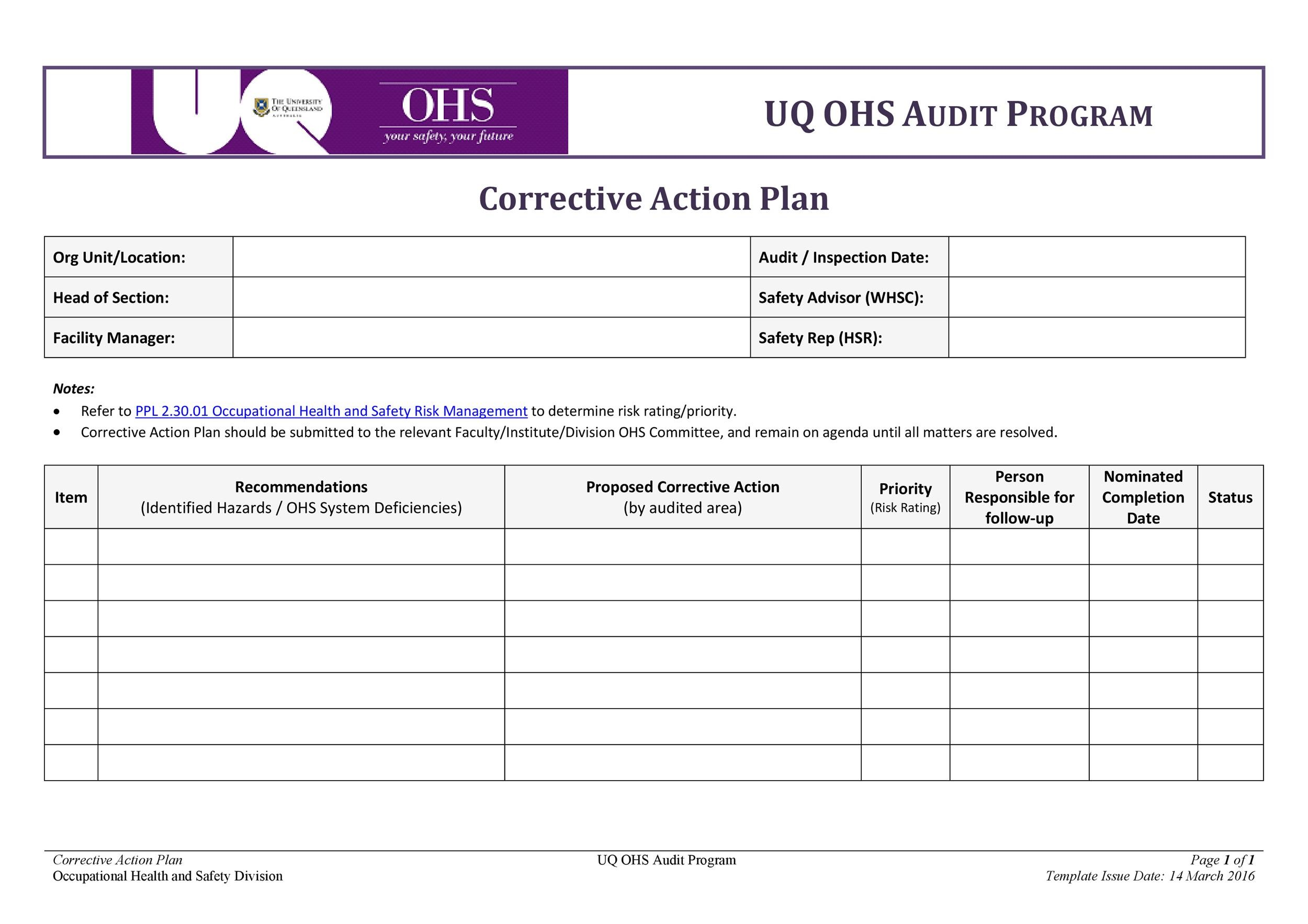 45 free action plan templates corrective emergency for Ohs management plan template