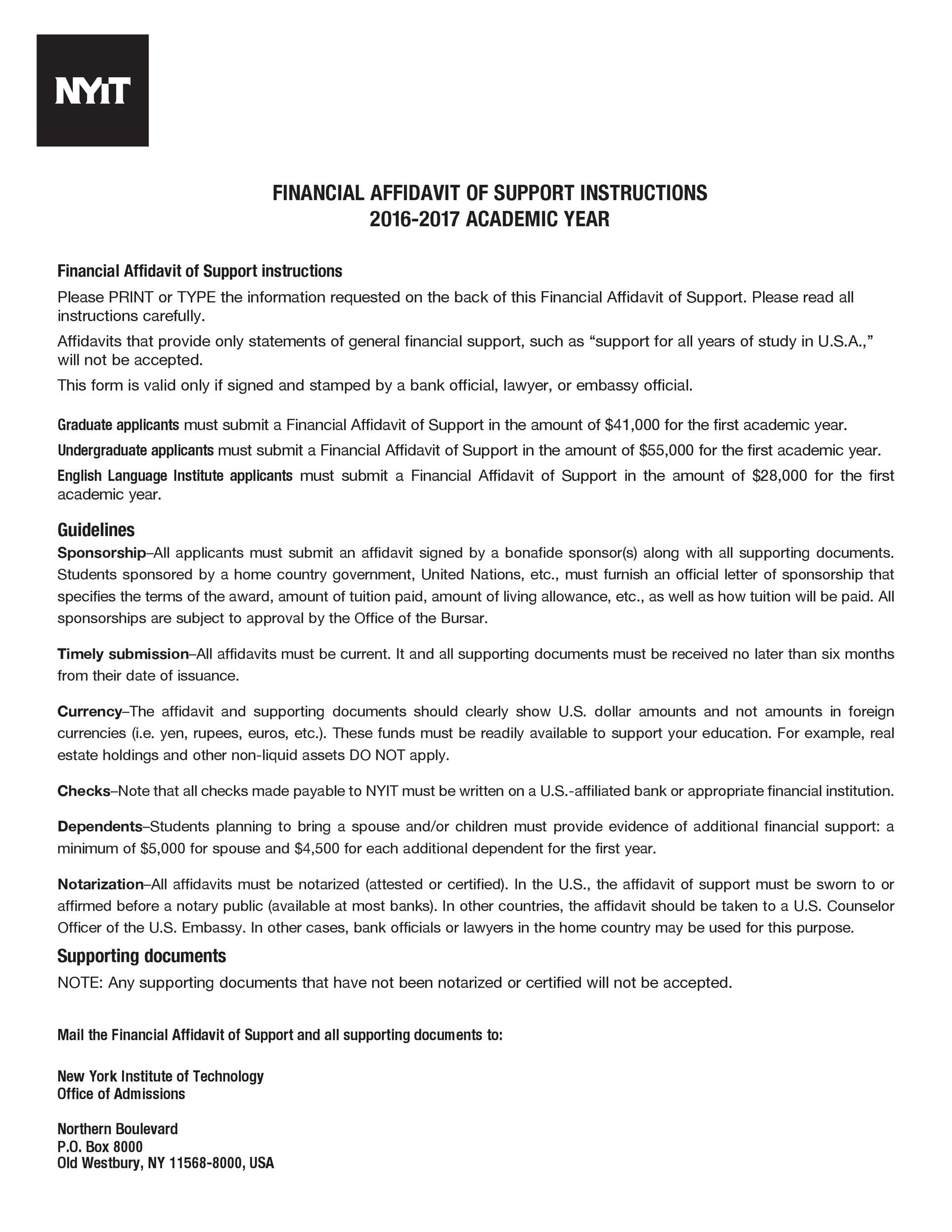 Free affidavit form 09