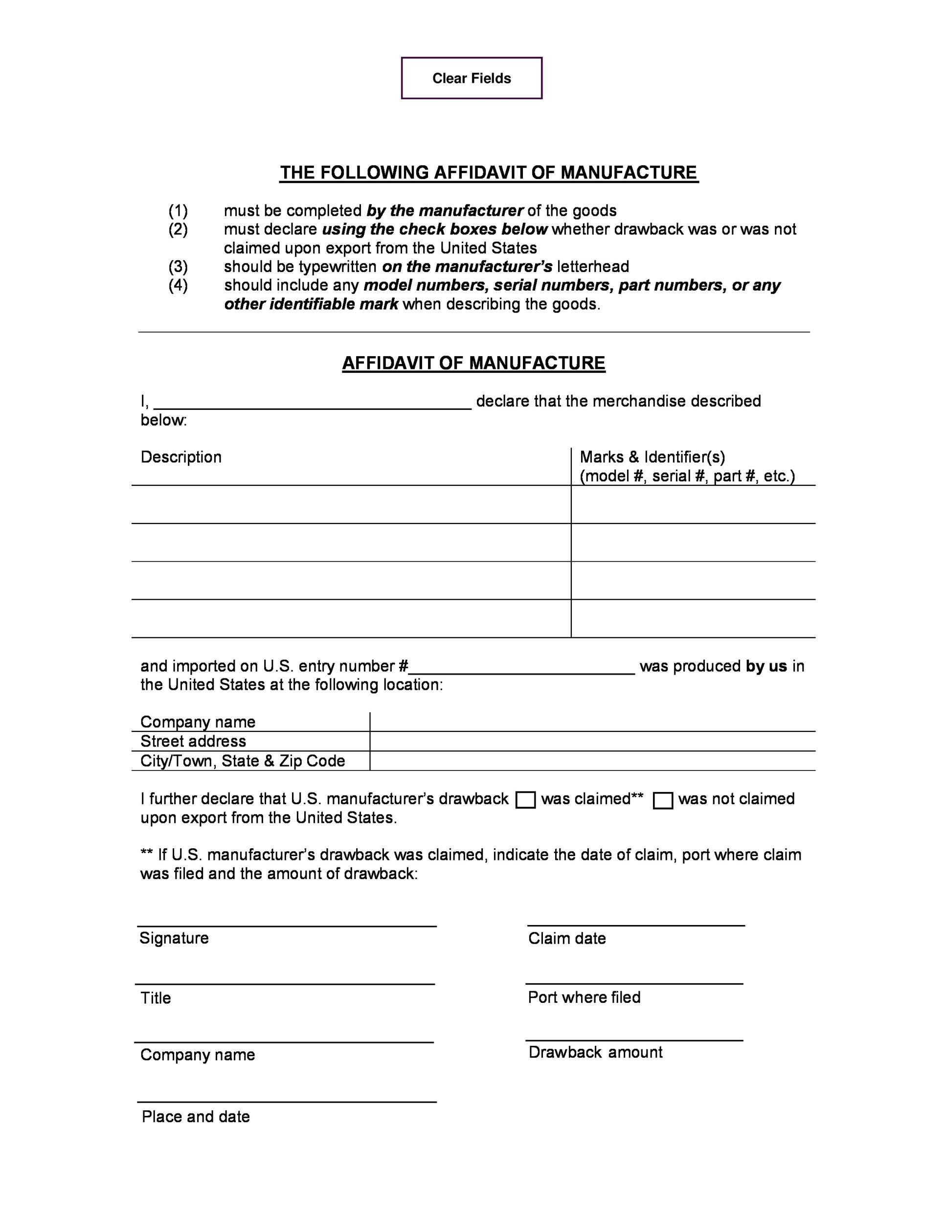 Printable Affidavit Form 11  General Affidavit Example