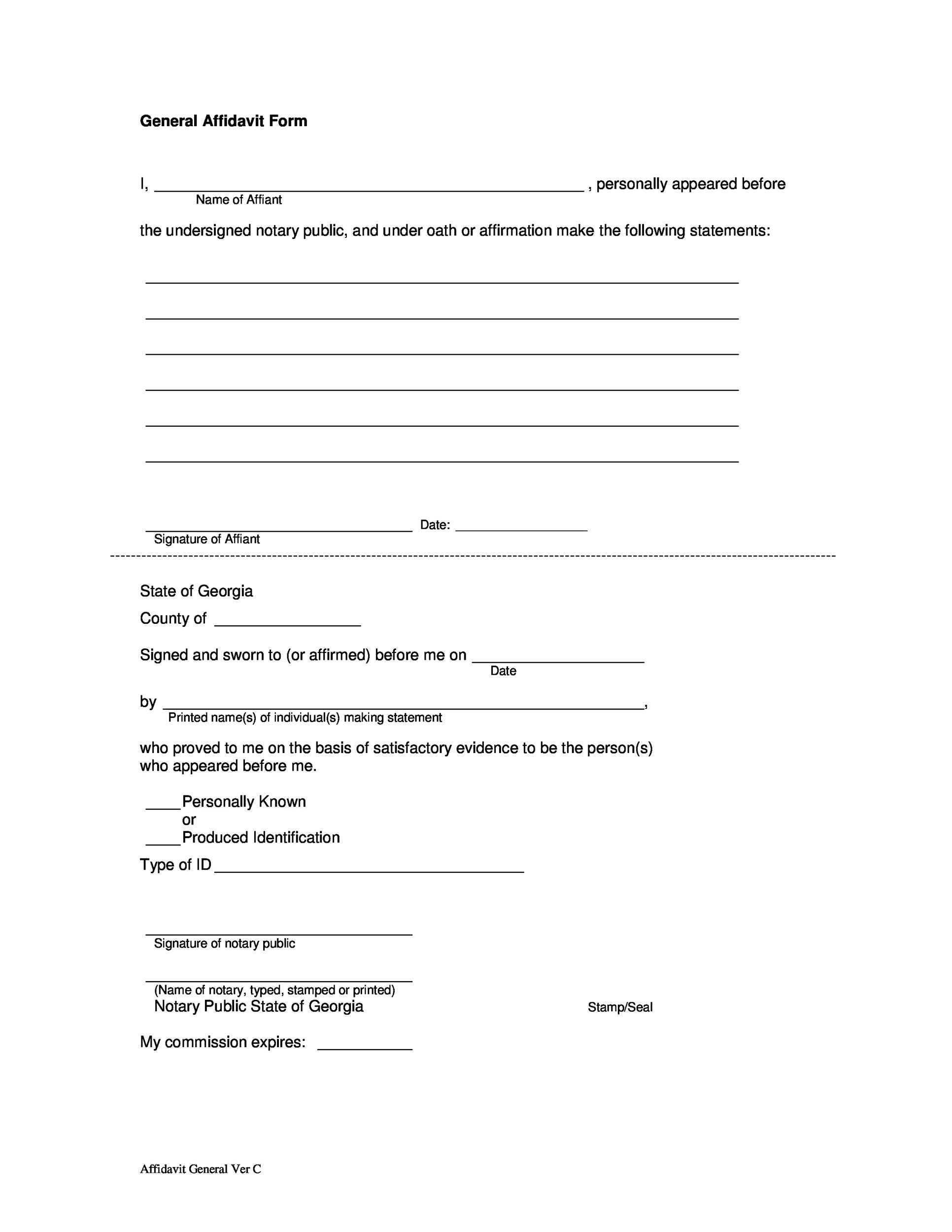 Delightful Printable Affidavit Form 12 Intended General Affidavit Example