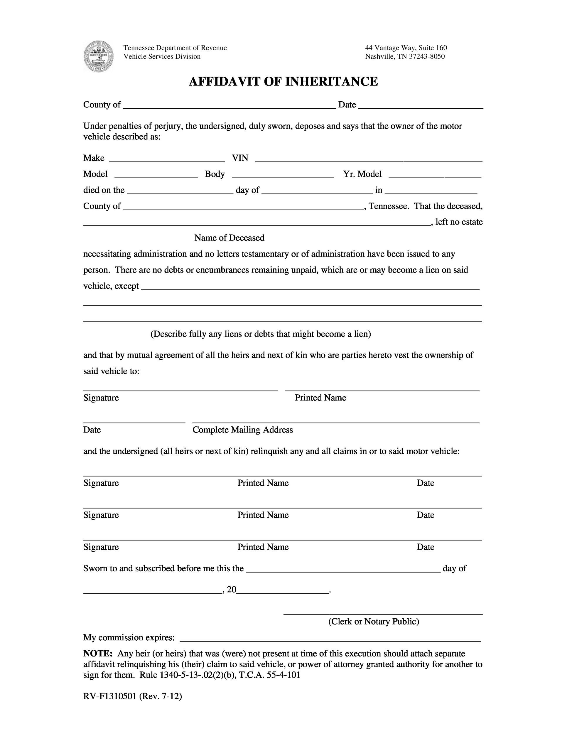 Printable Affidavit Form 21  General Affidavit Example