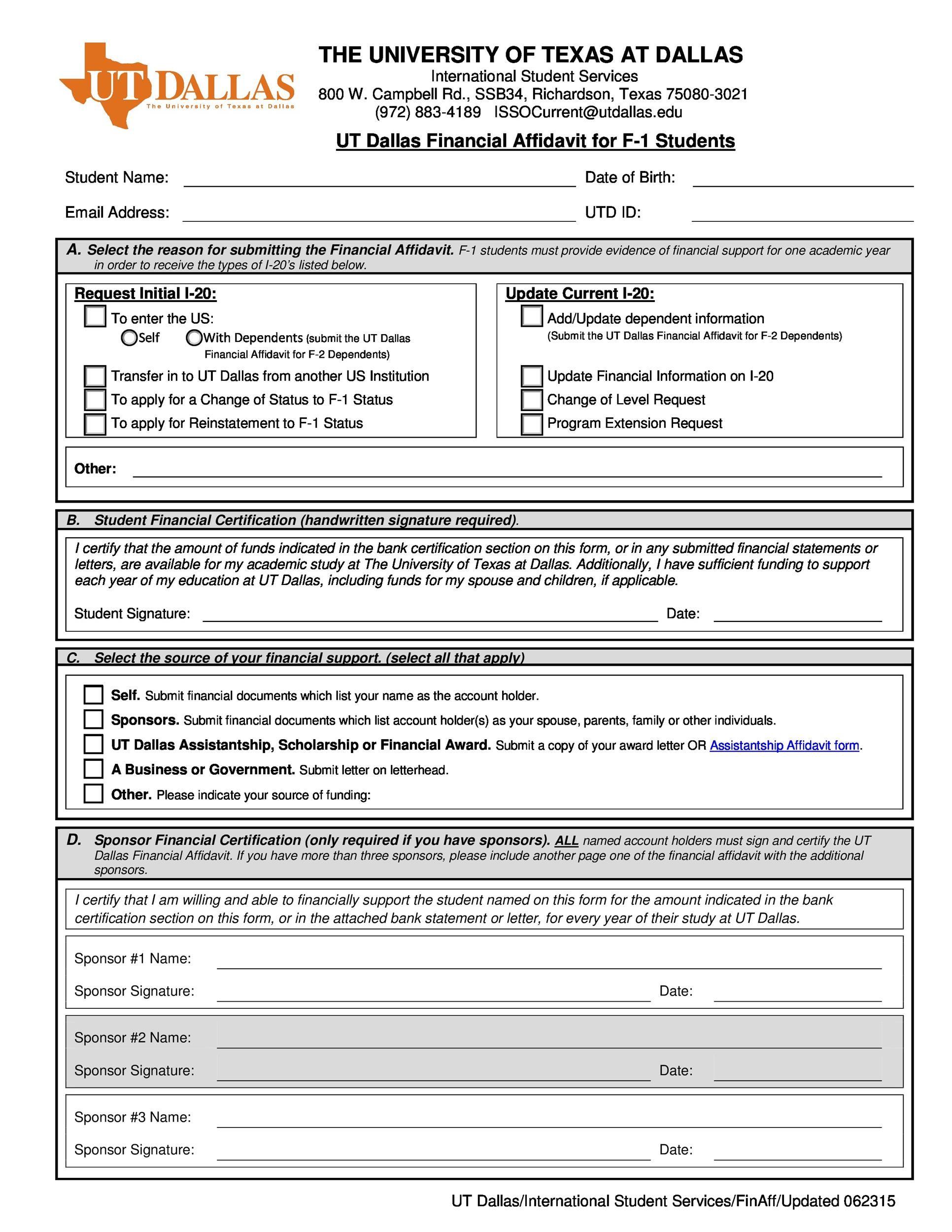 Free affidavit form 22