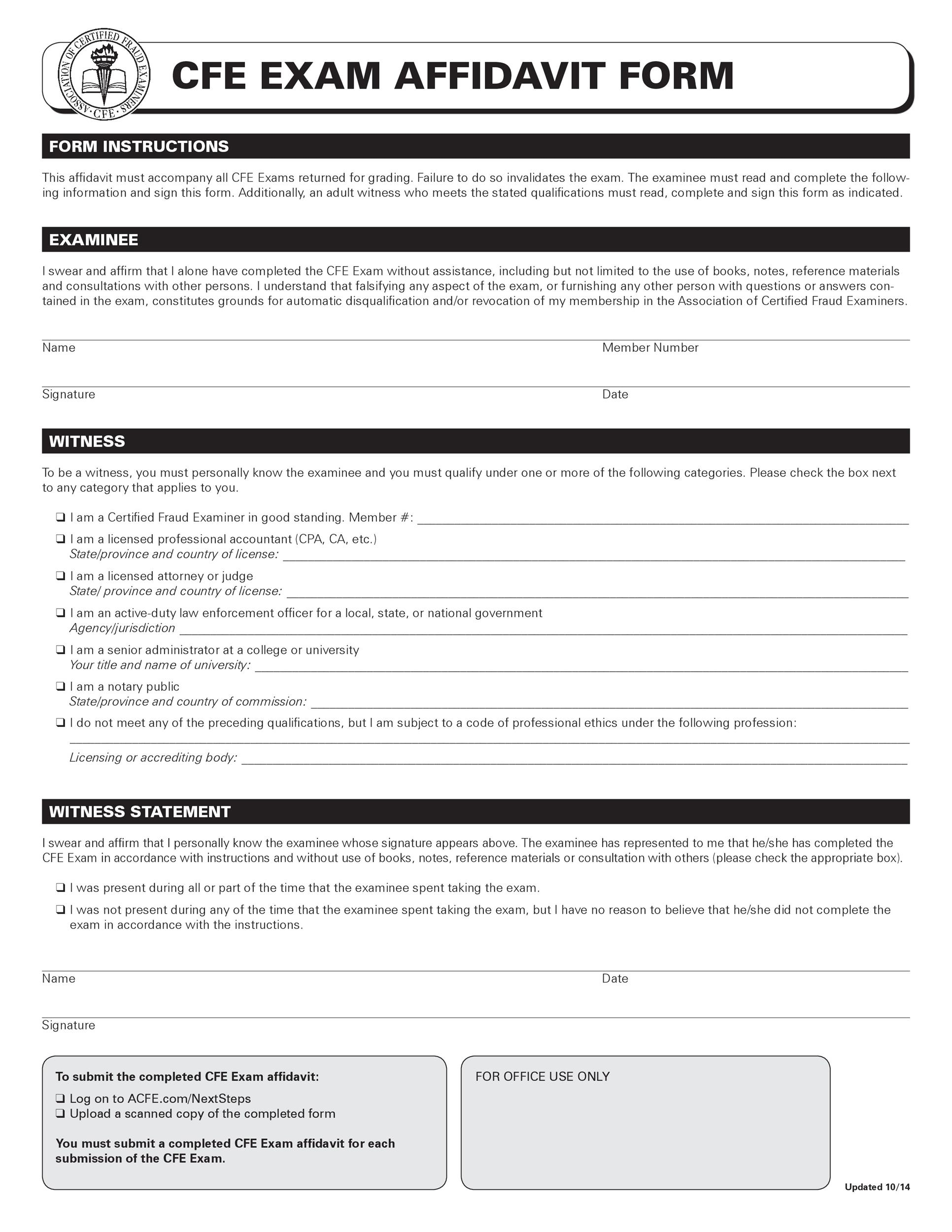 Free affidavit form 26