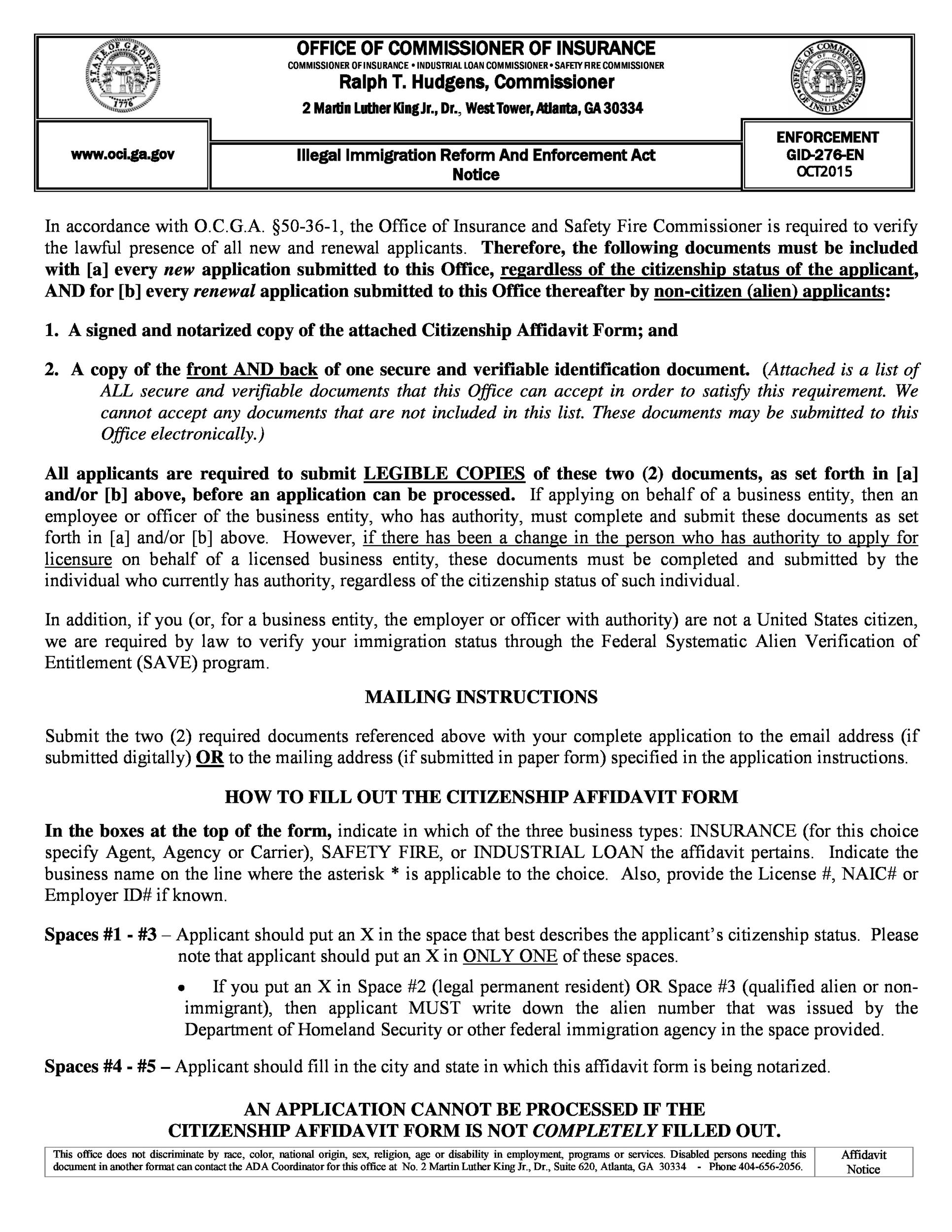 Free affidavit form 29