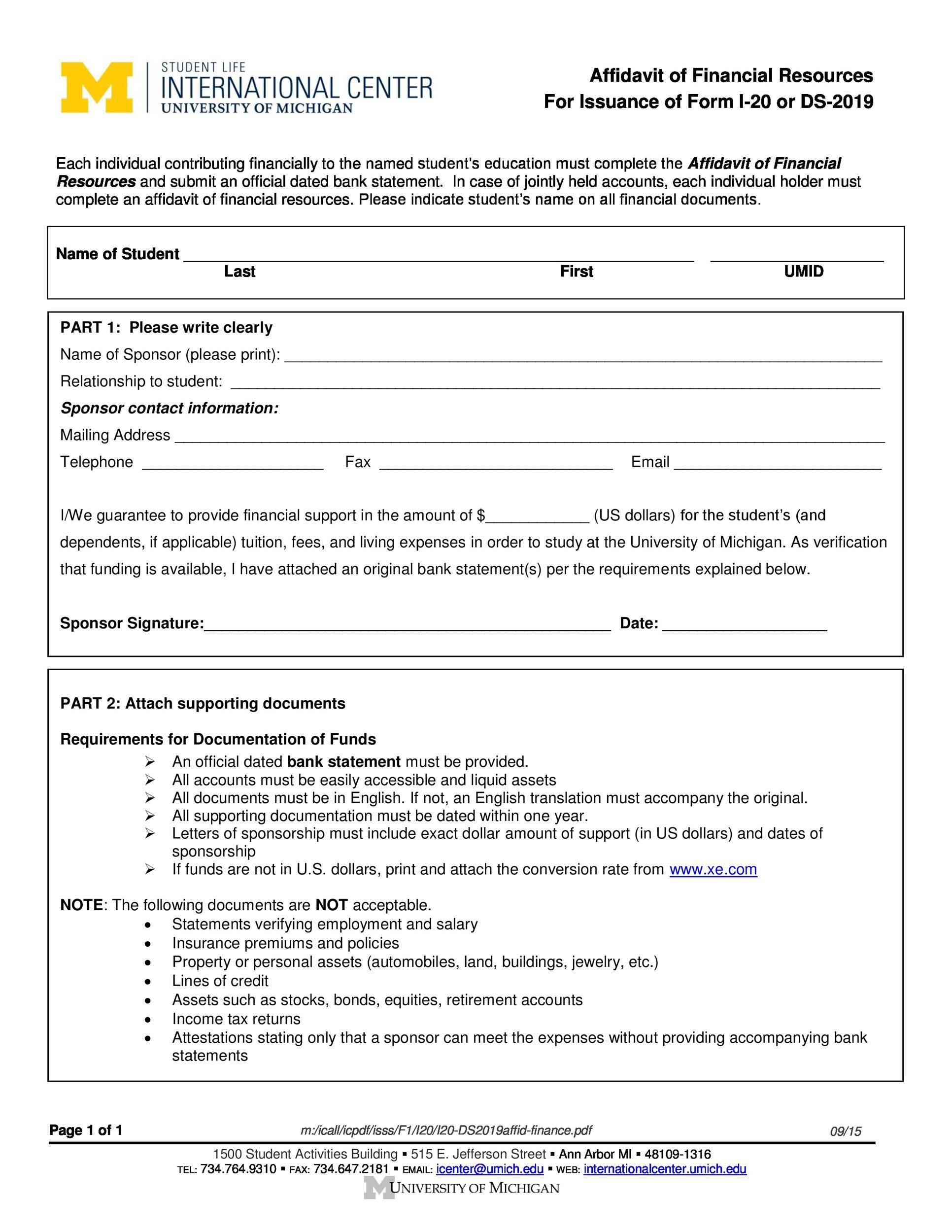 Free affidavit form 30