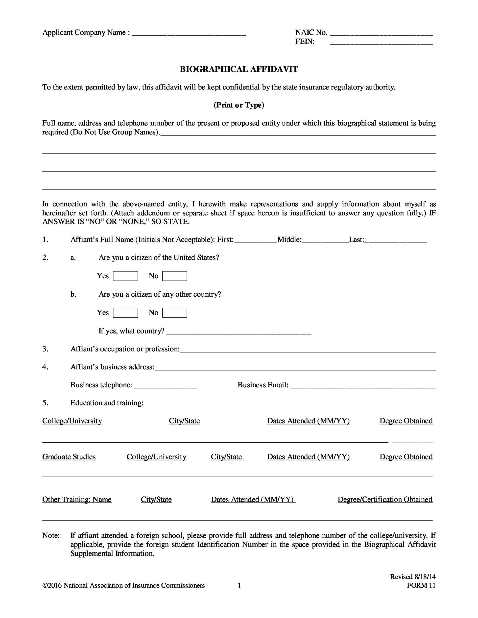 Free affidavit form 32