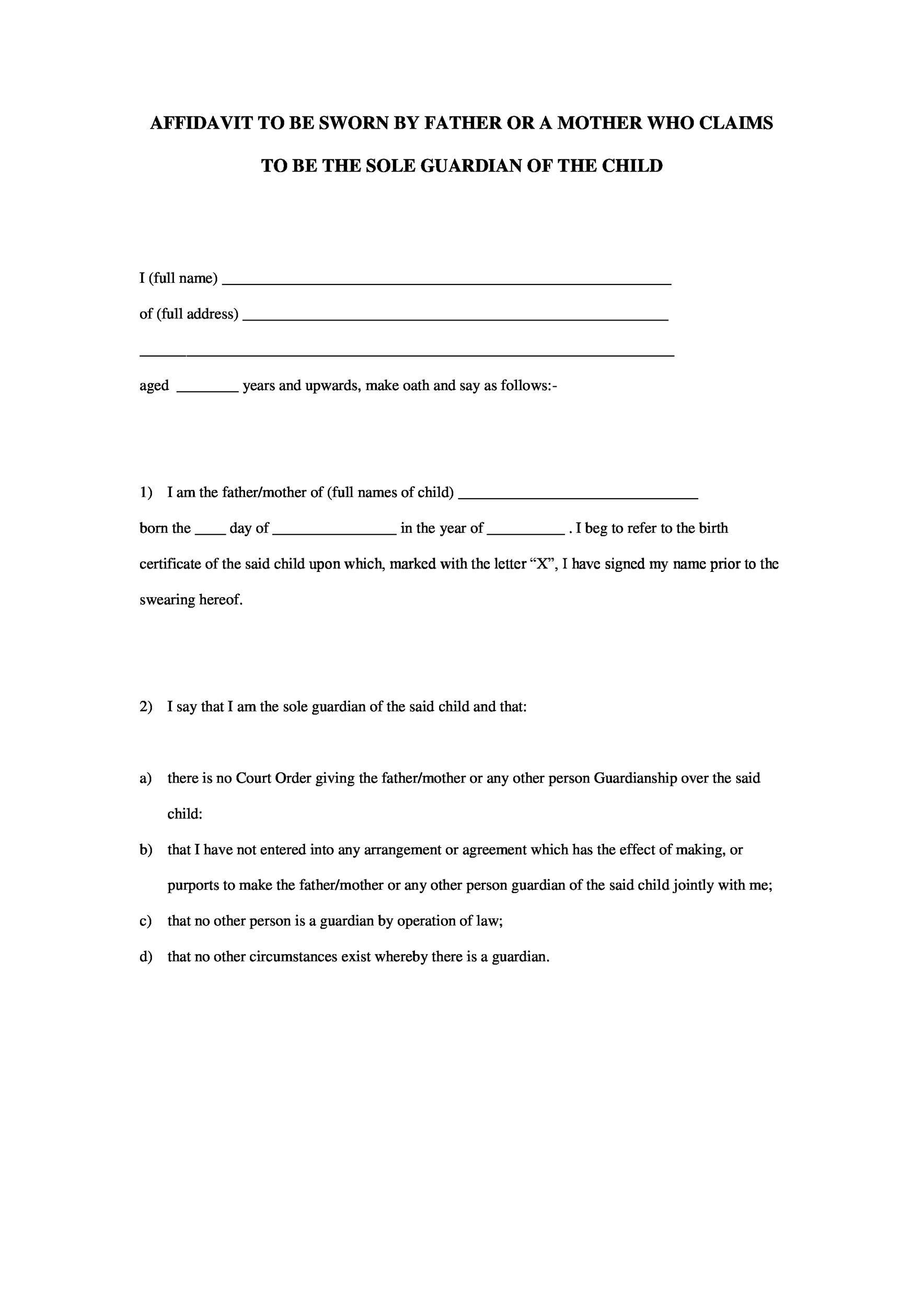 Free affidavit form 33