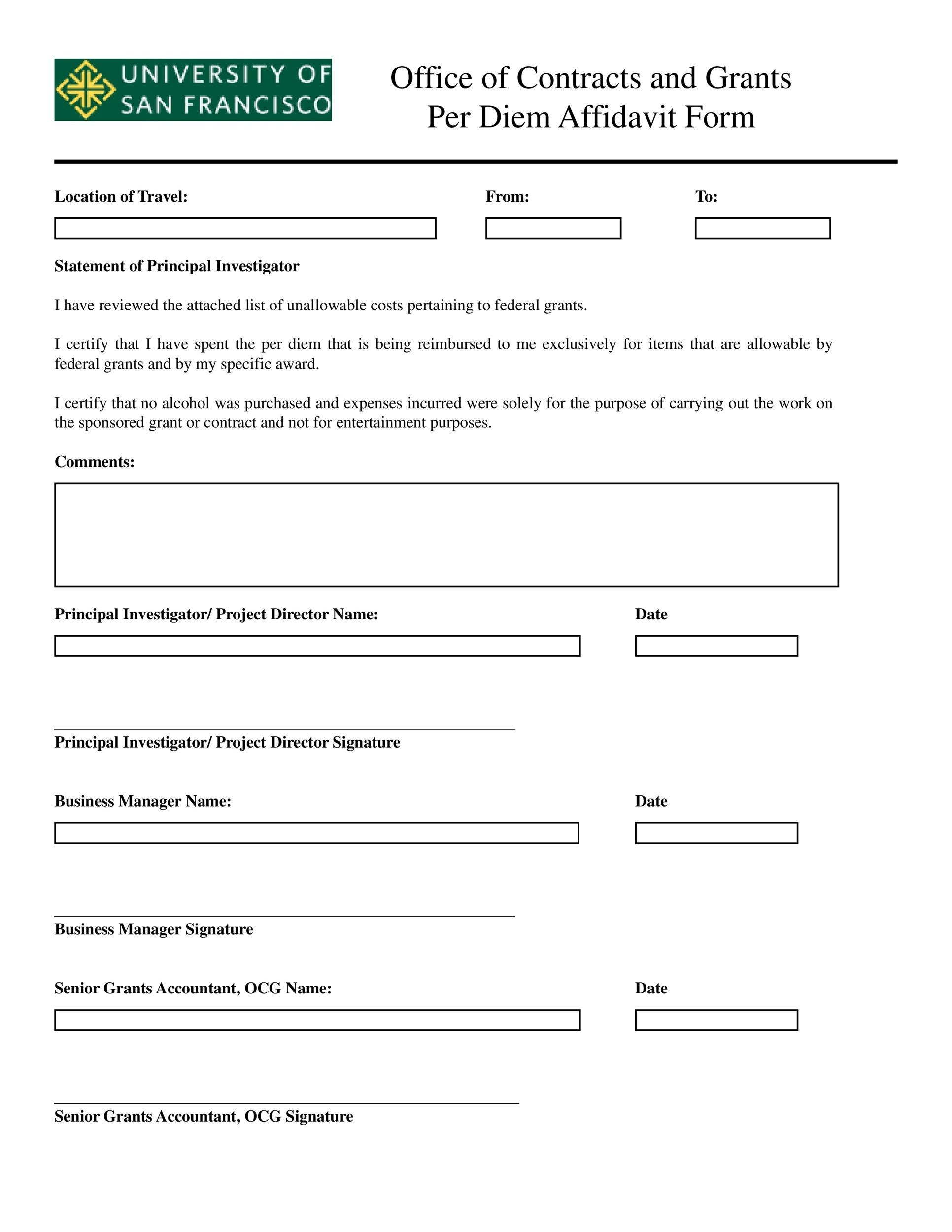 Free affidavit form 37