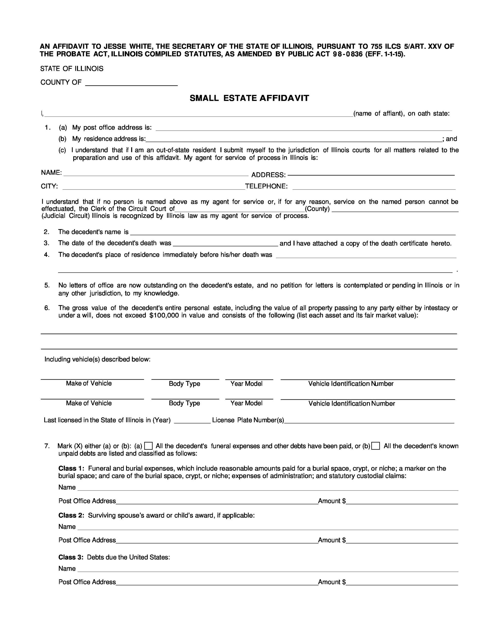 Printable Affidavit Form 41  Affidavit Word Template