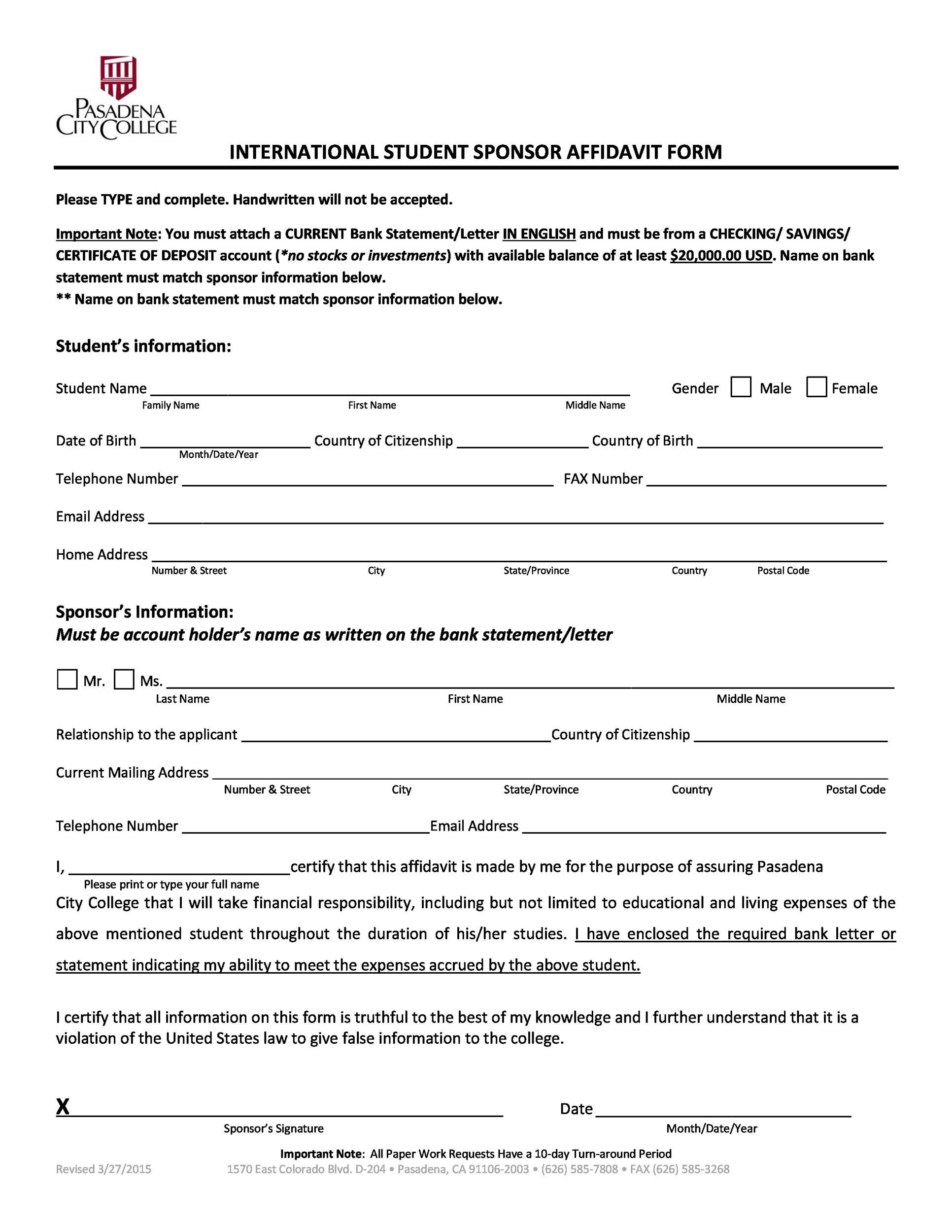 Free affidavit form 42