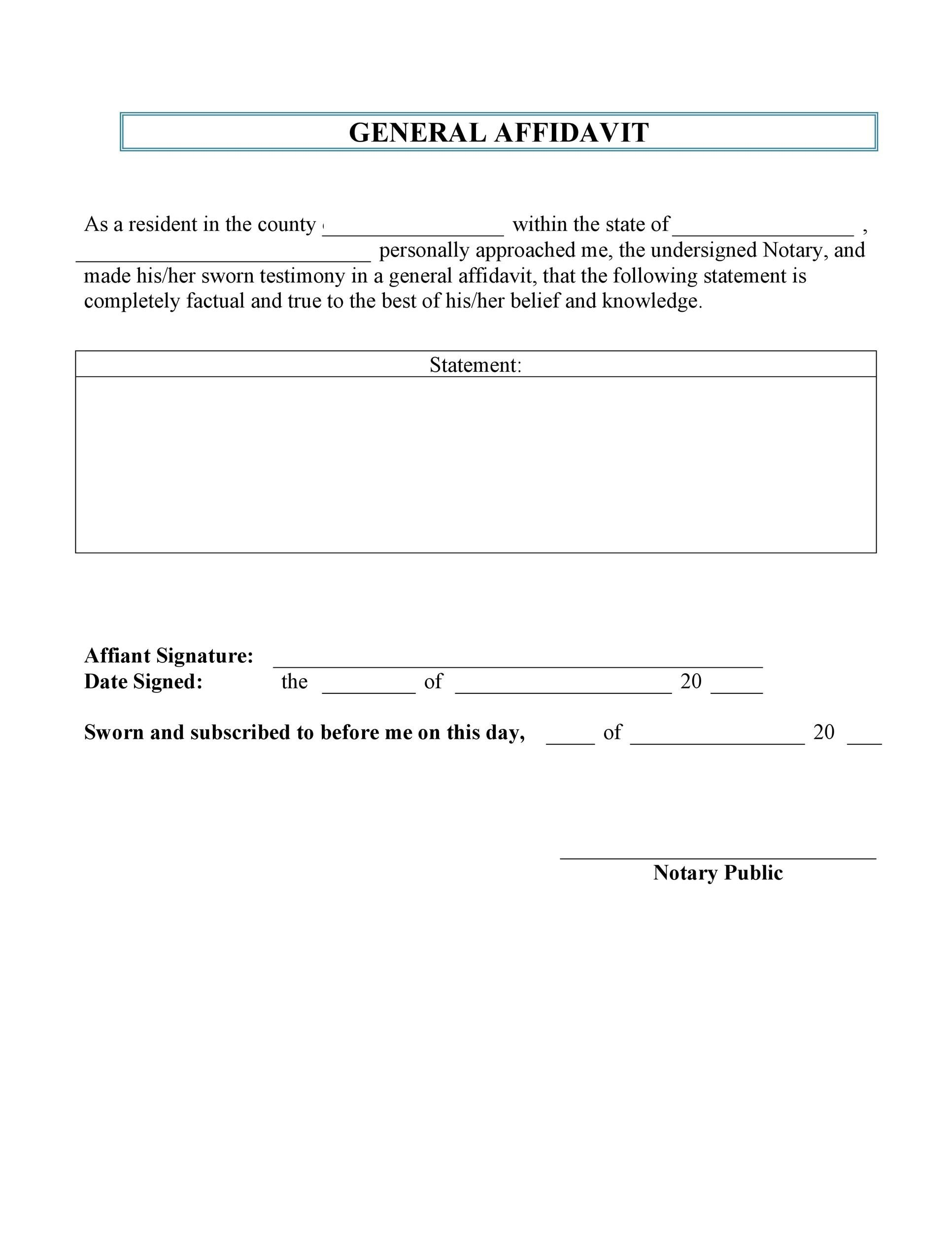 Free affidavit form 45
