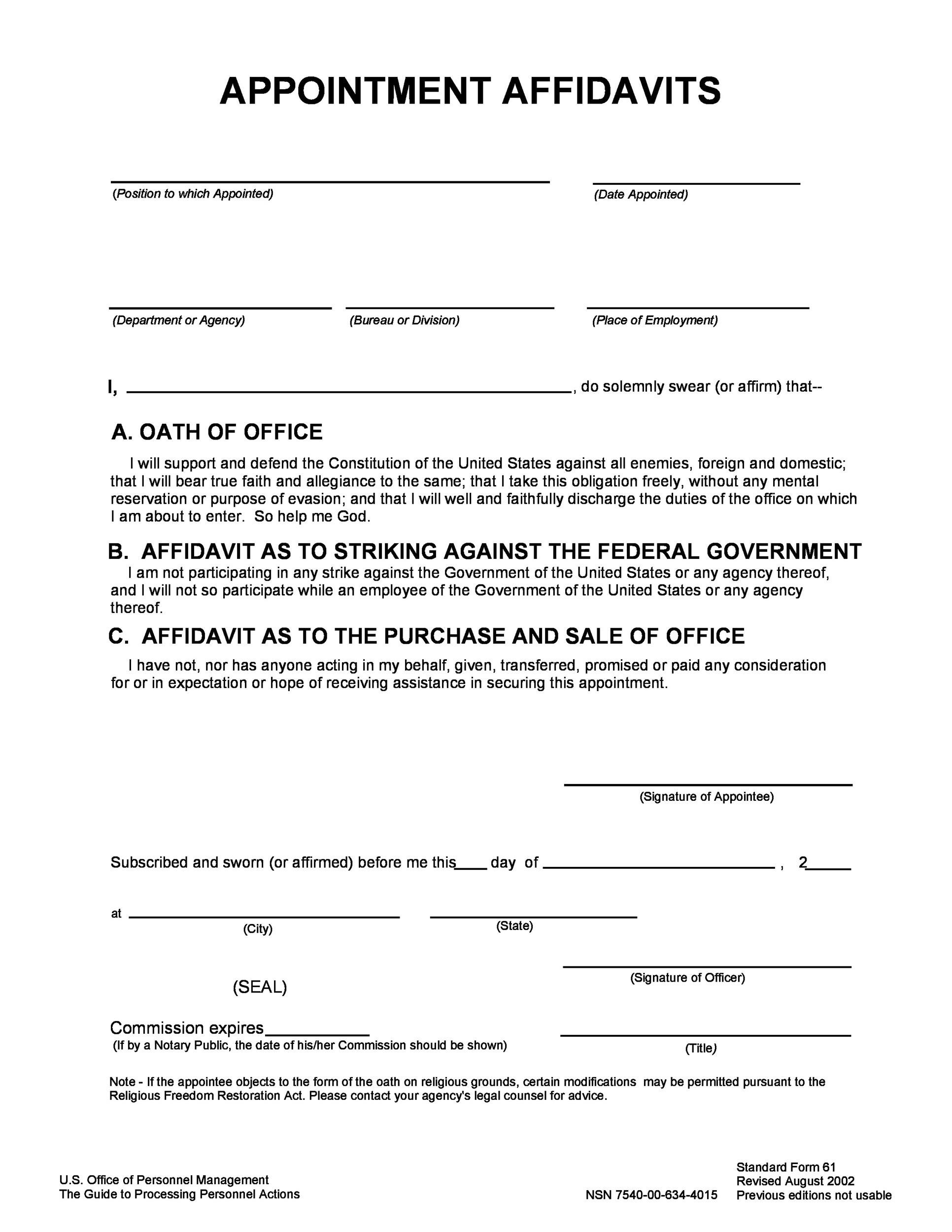 Free affidavit form 48