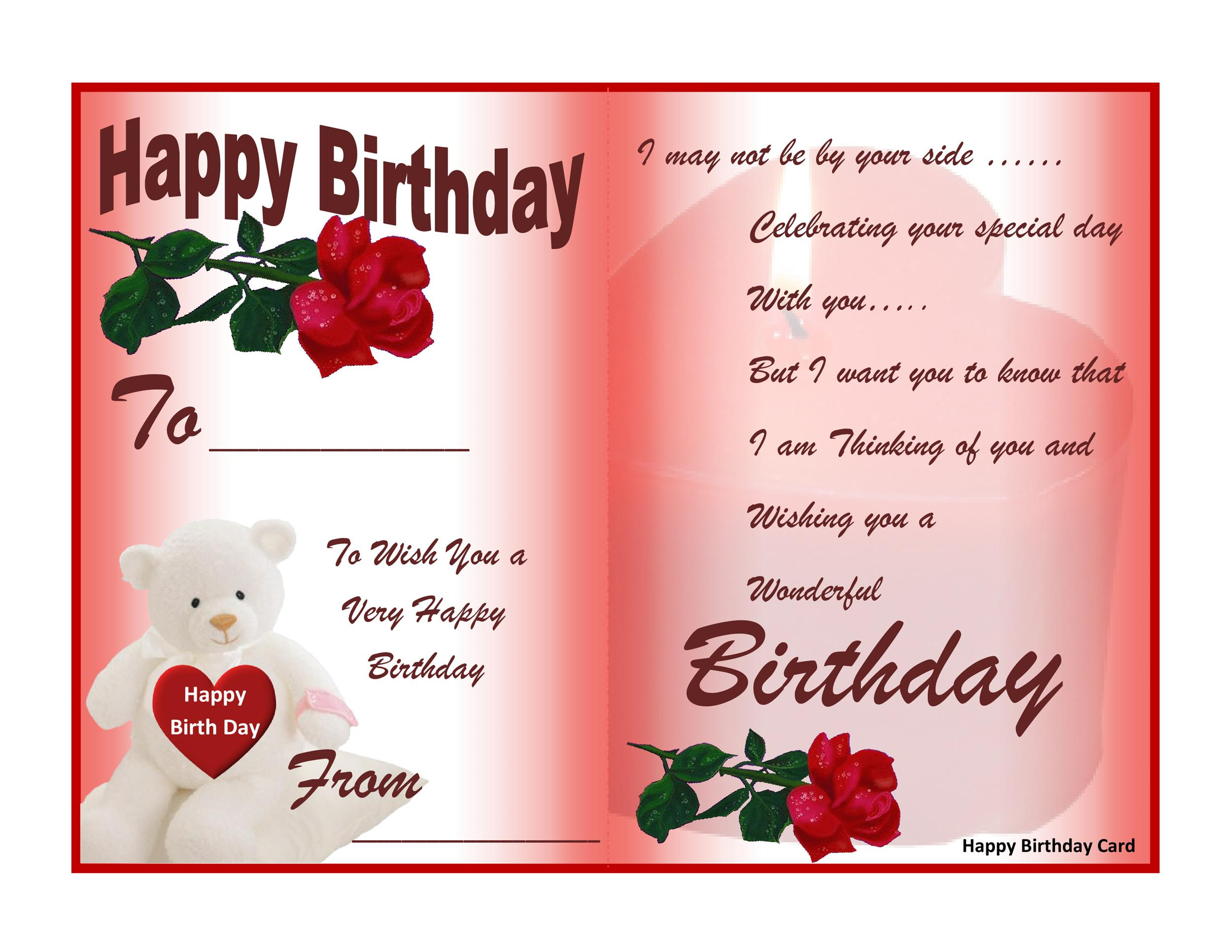 Free Birthday Card Template 20 Printable