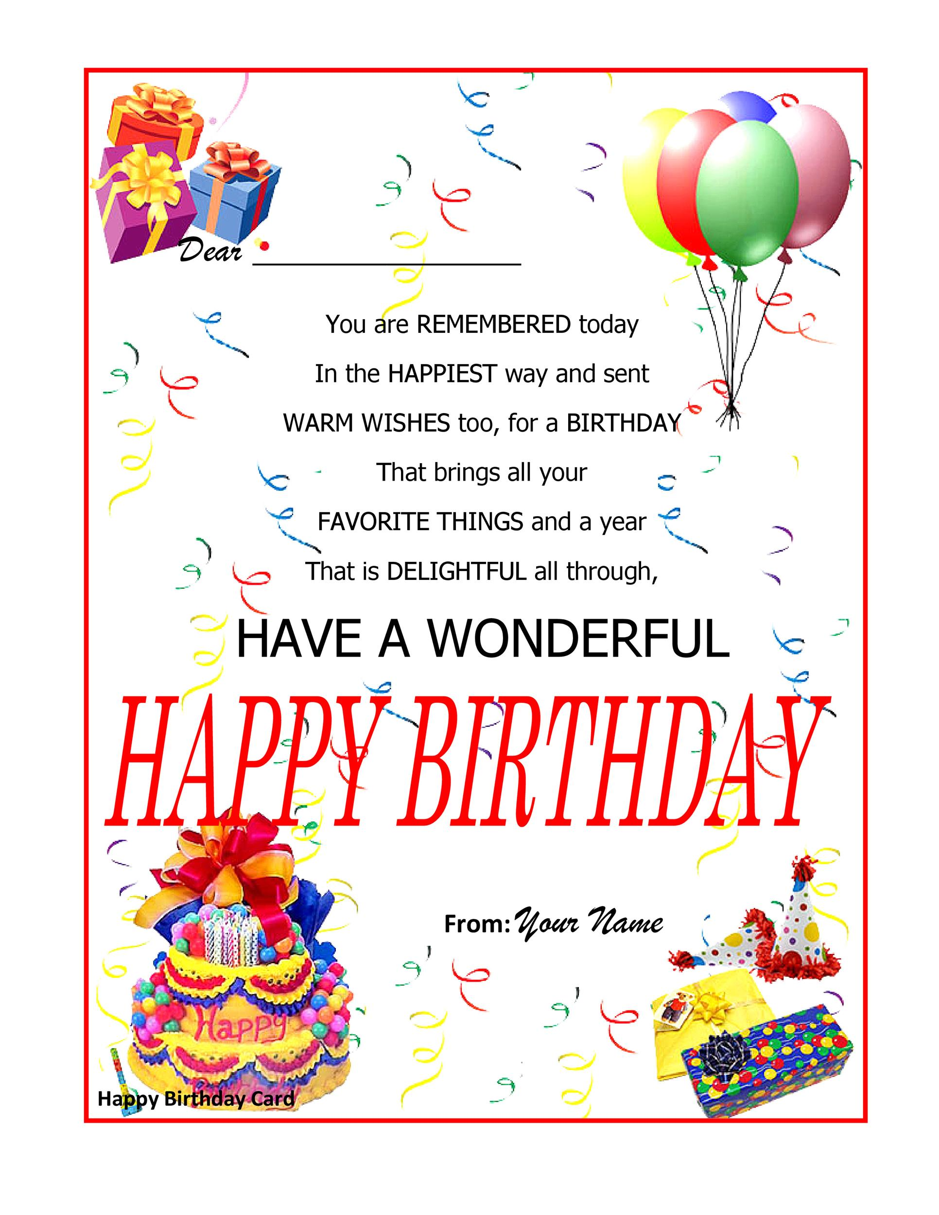 Free Birthday Card Template 28
