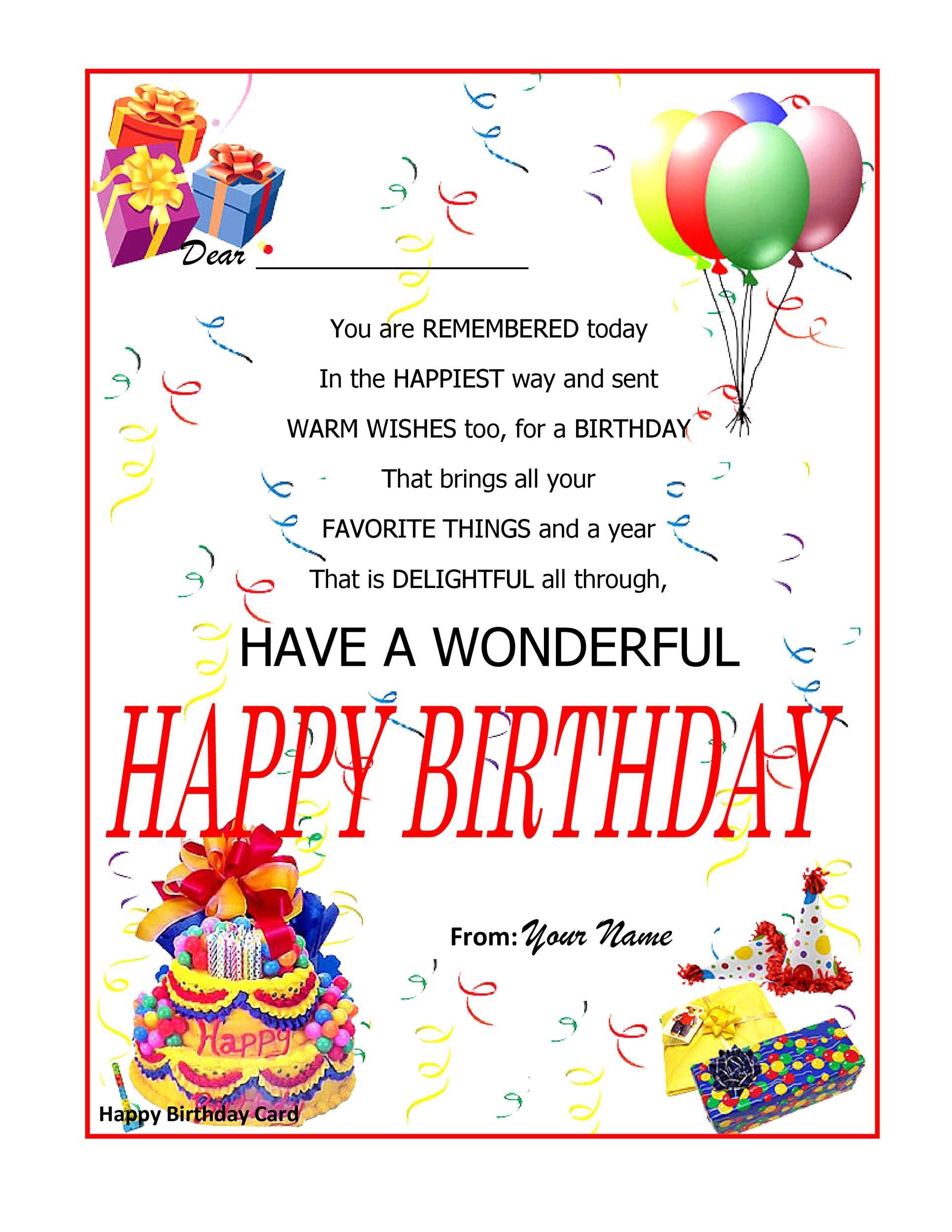 Free birthday card template 28