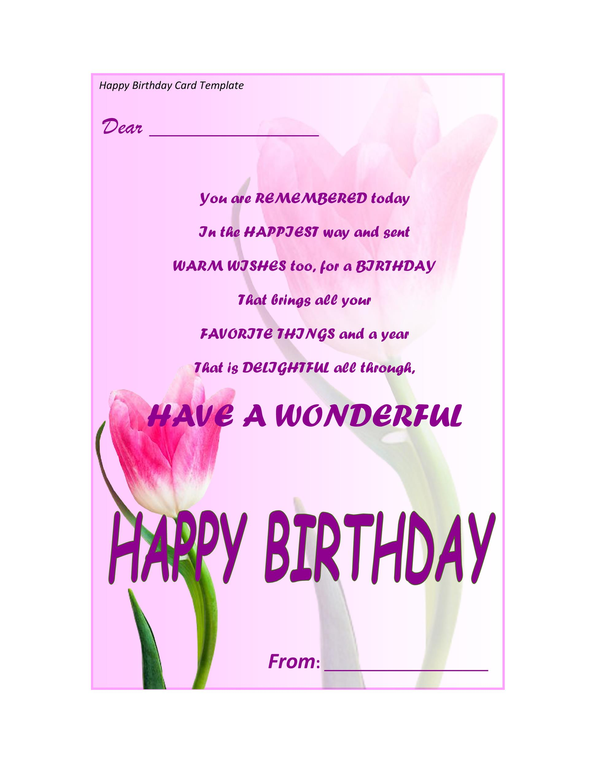 Free Birthday Card Template 32 Printable