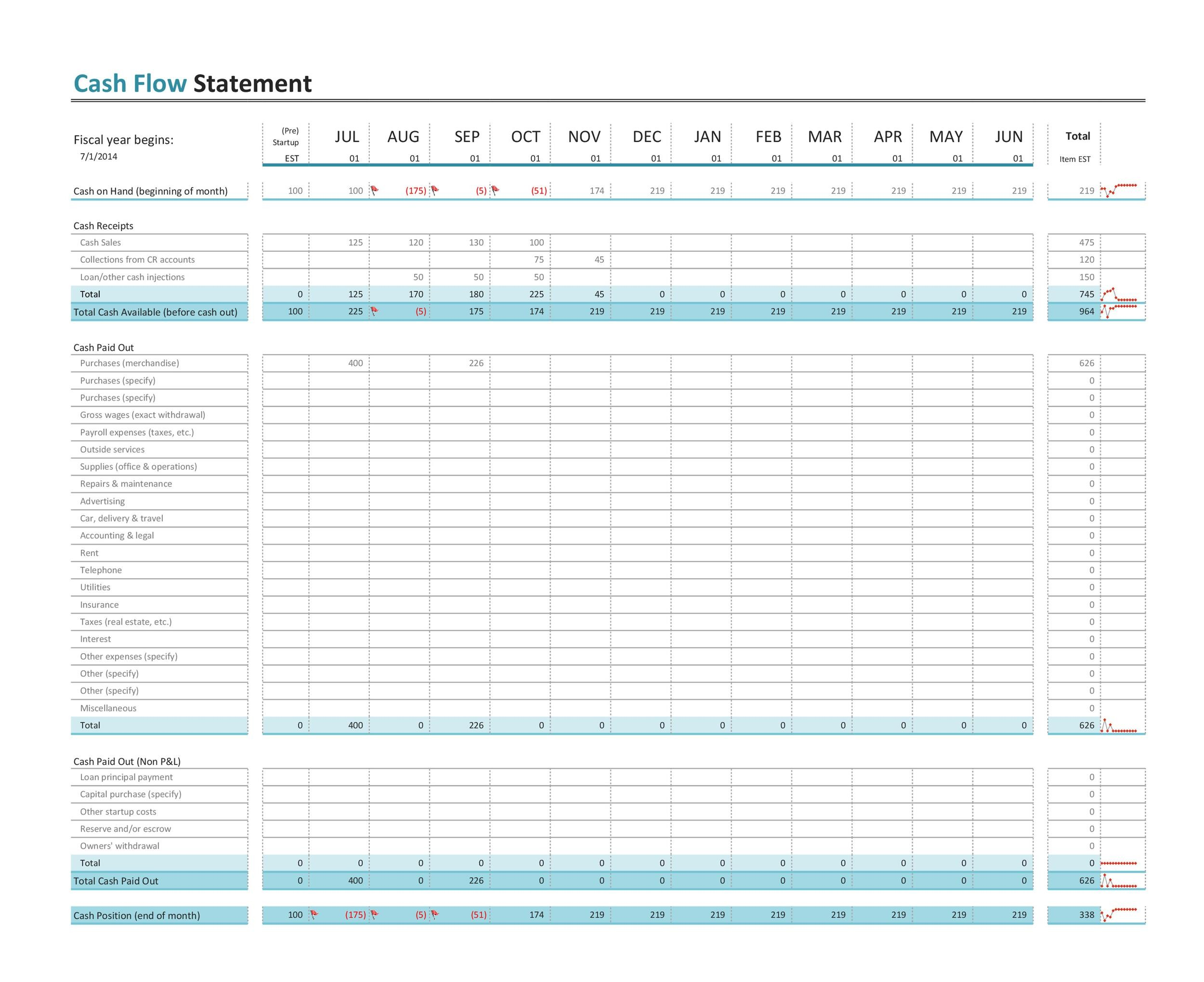 Printable Cash Flow Statement 04