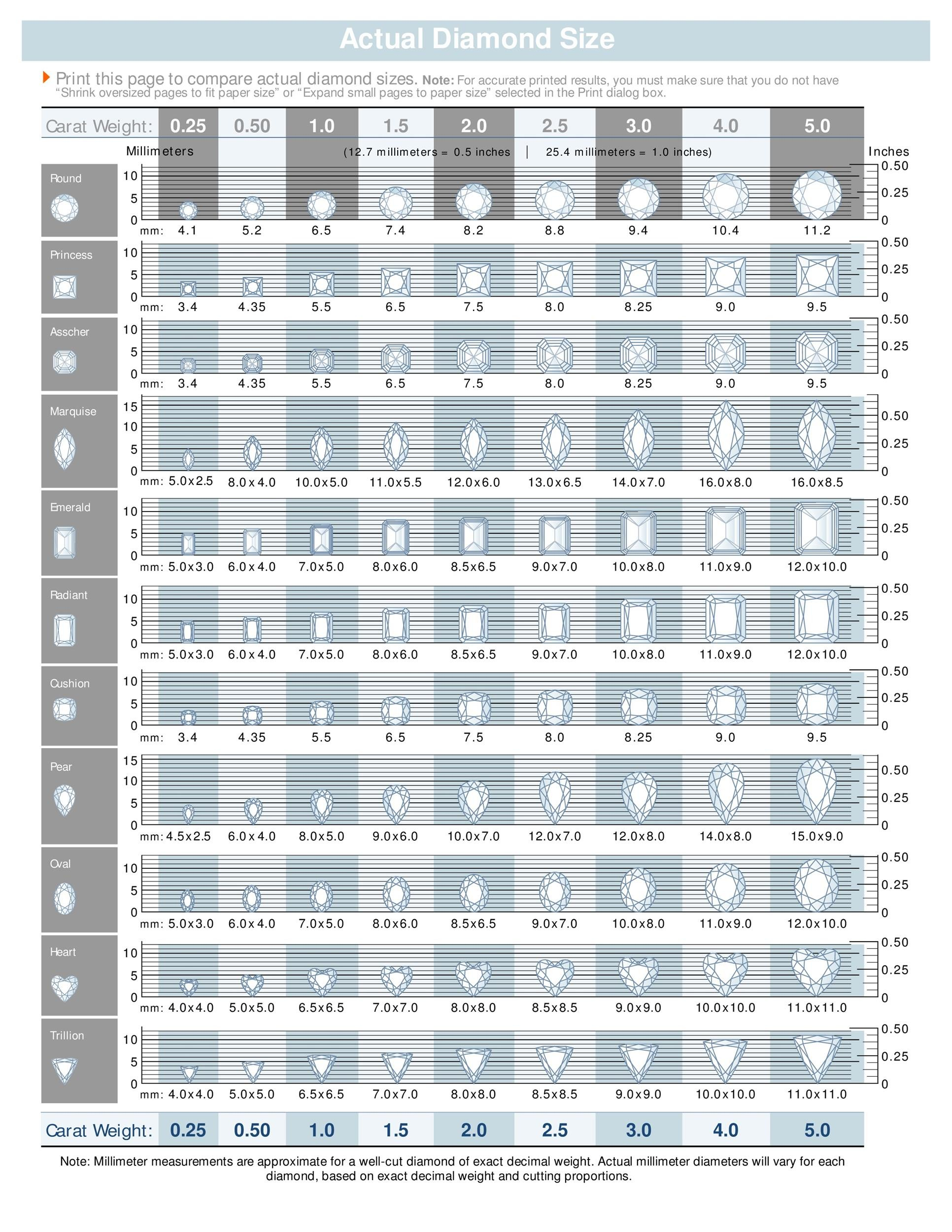 Printable Diamond Size Chart 01 Idea