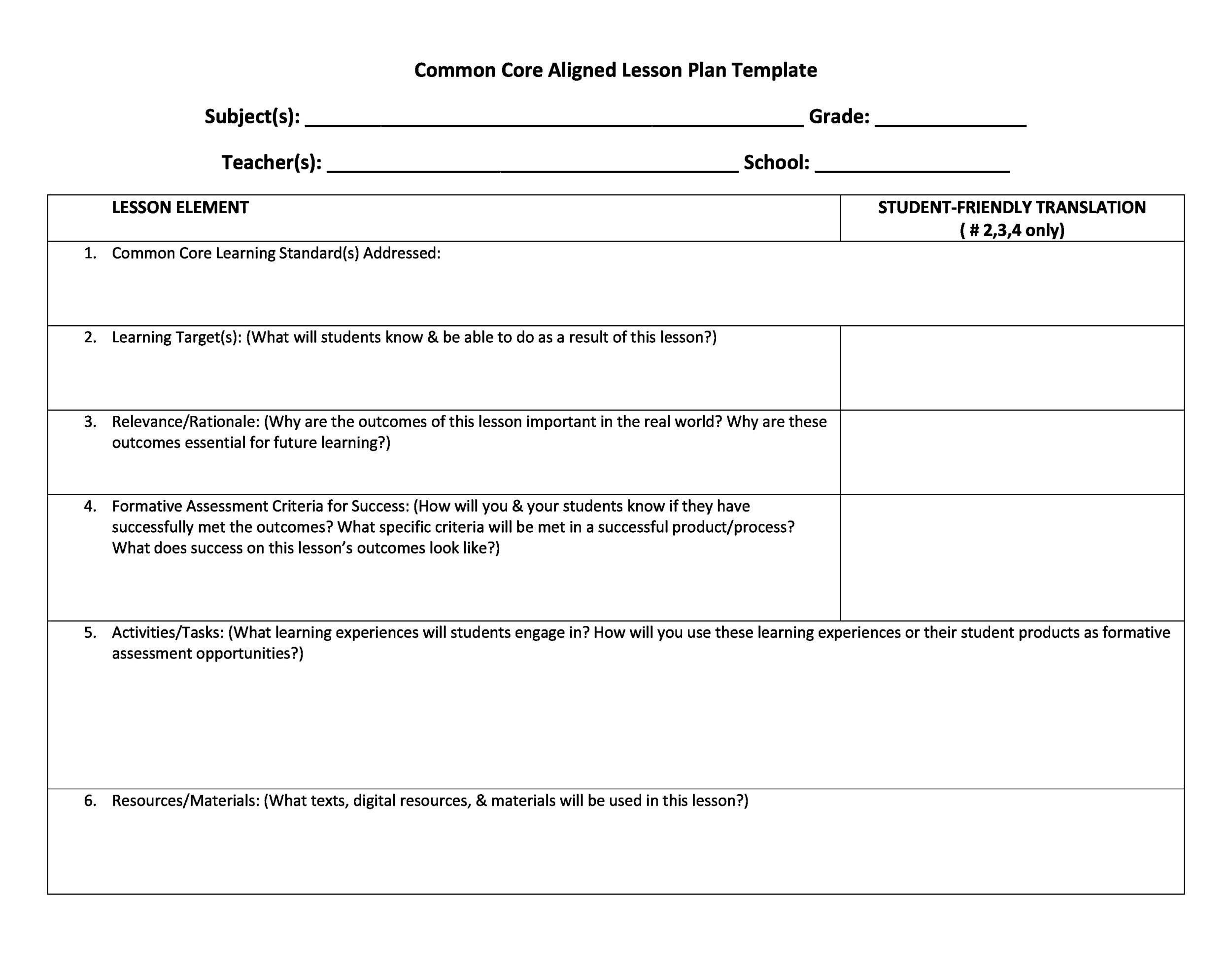 Free lesson plan template 01