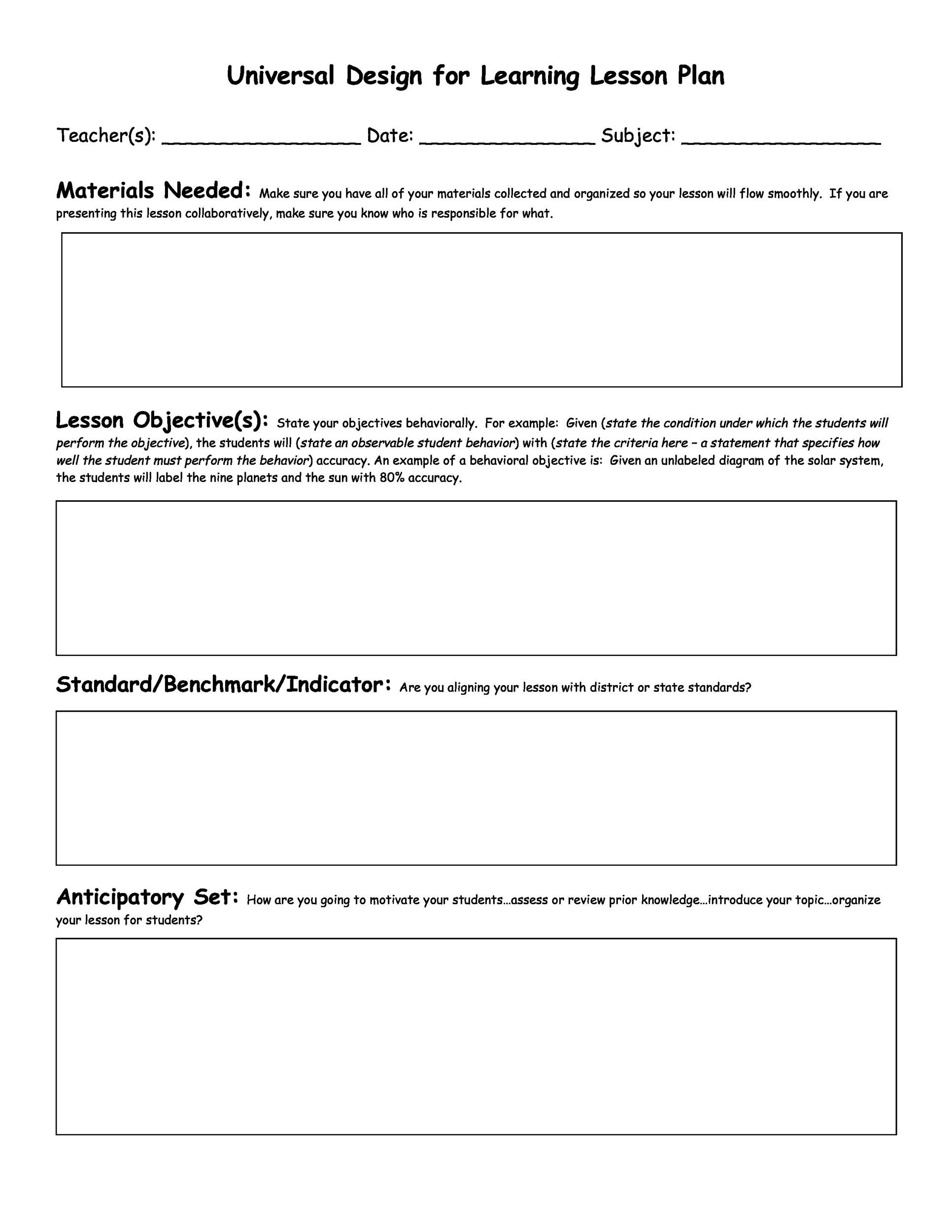 FREE Lesson Plan Templates Common Core Preschool Weekly - Word lesson plan template