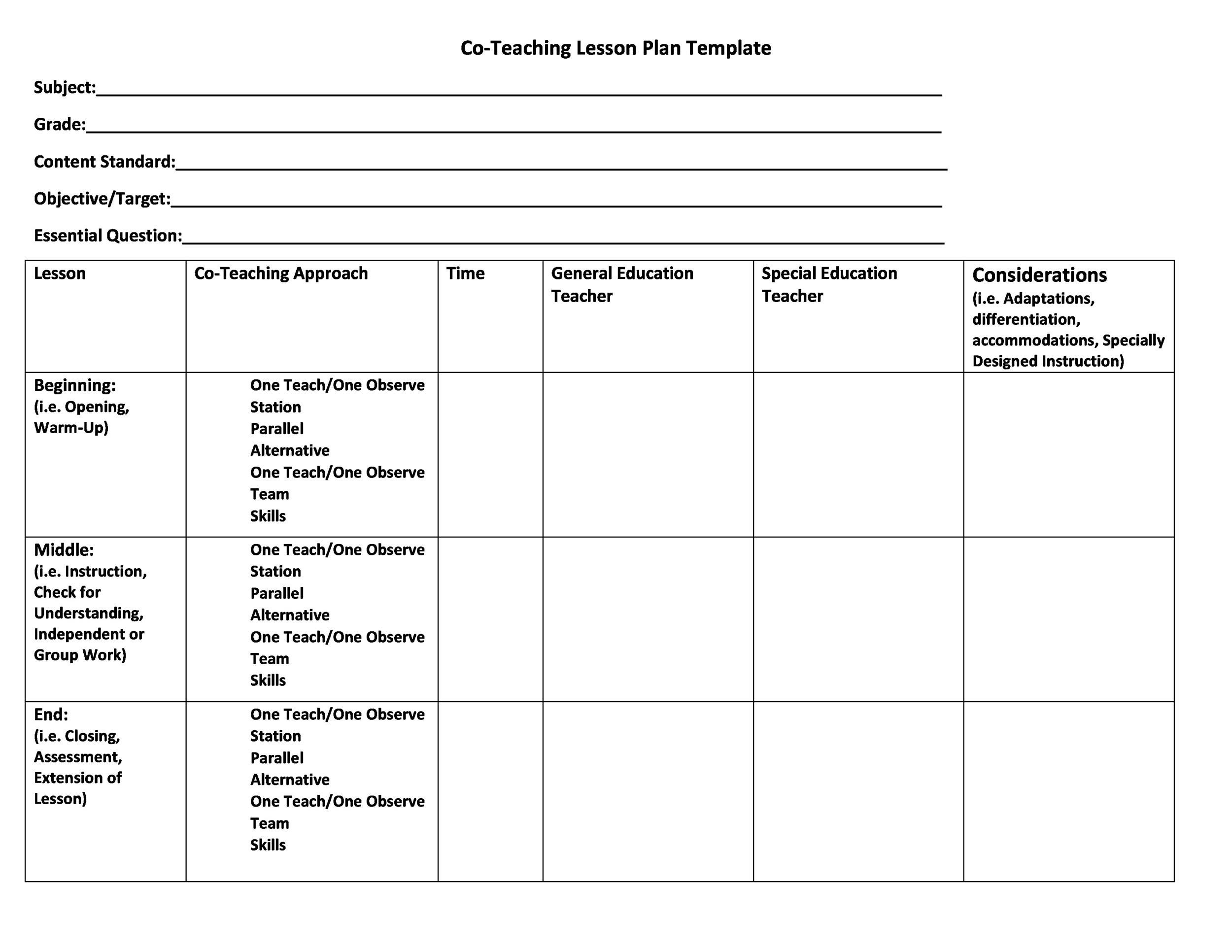 Printable Lesson Plan Forms Idealstalist